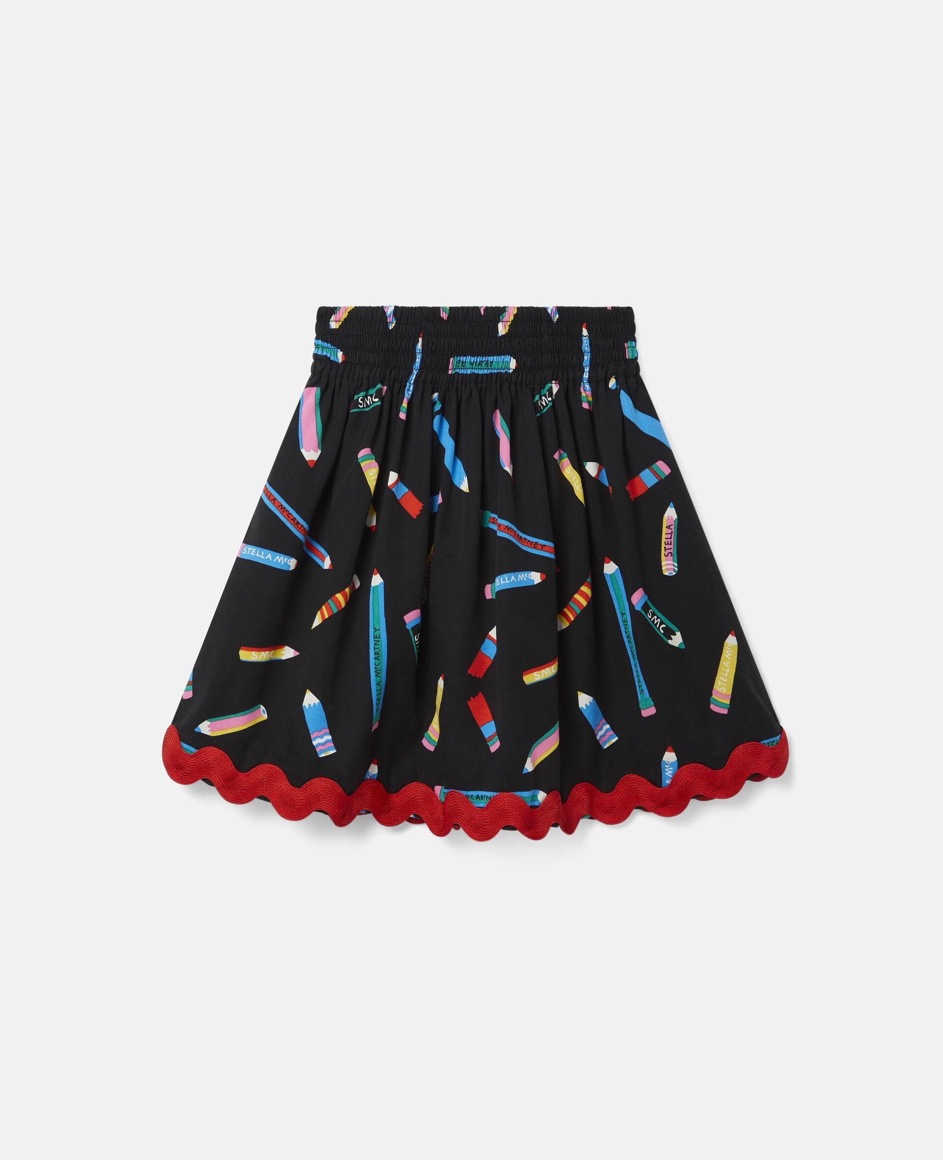 铅笔印花斜纹布半身裙 -黑色-large image number 0