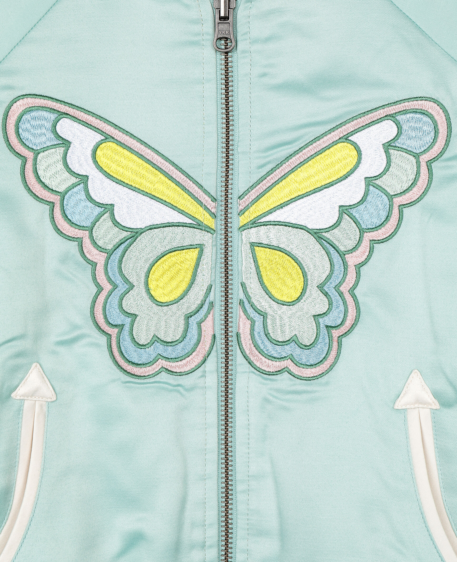 Embroidered Butterfly Satin Bomber -Green-large image number 2