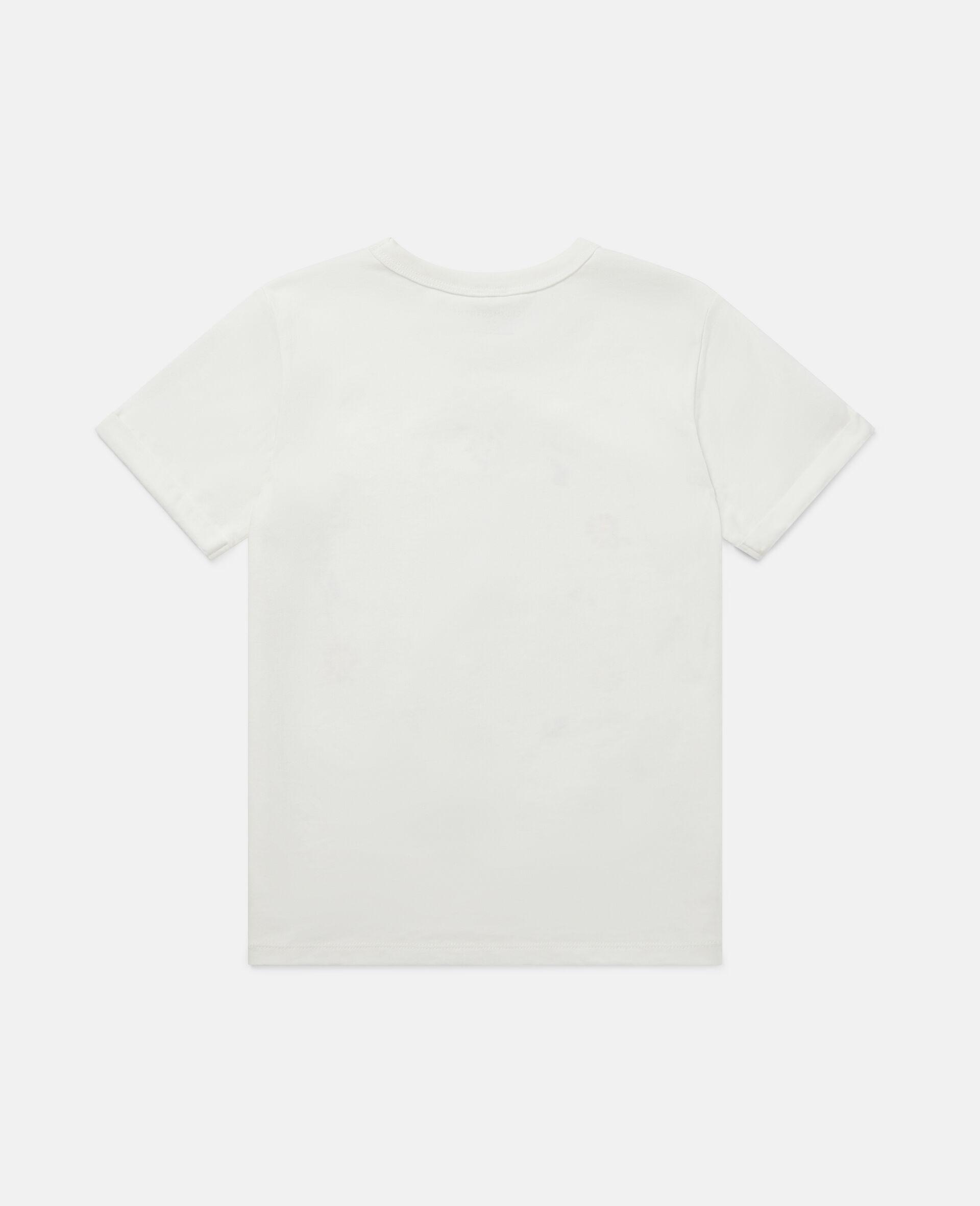 T-shirt con Logo e Fiori-Bianco-large image number 3