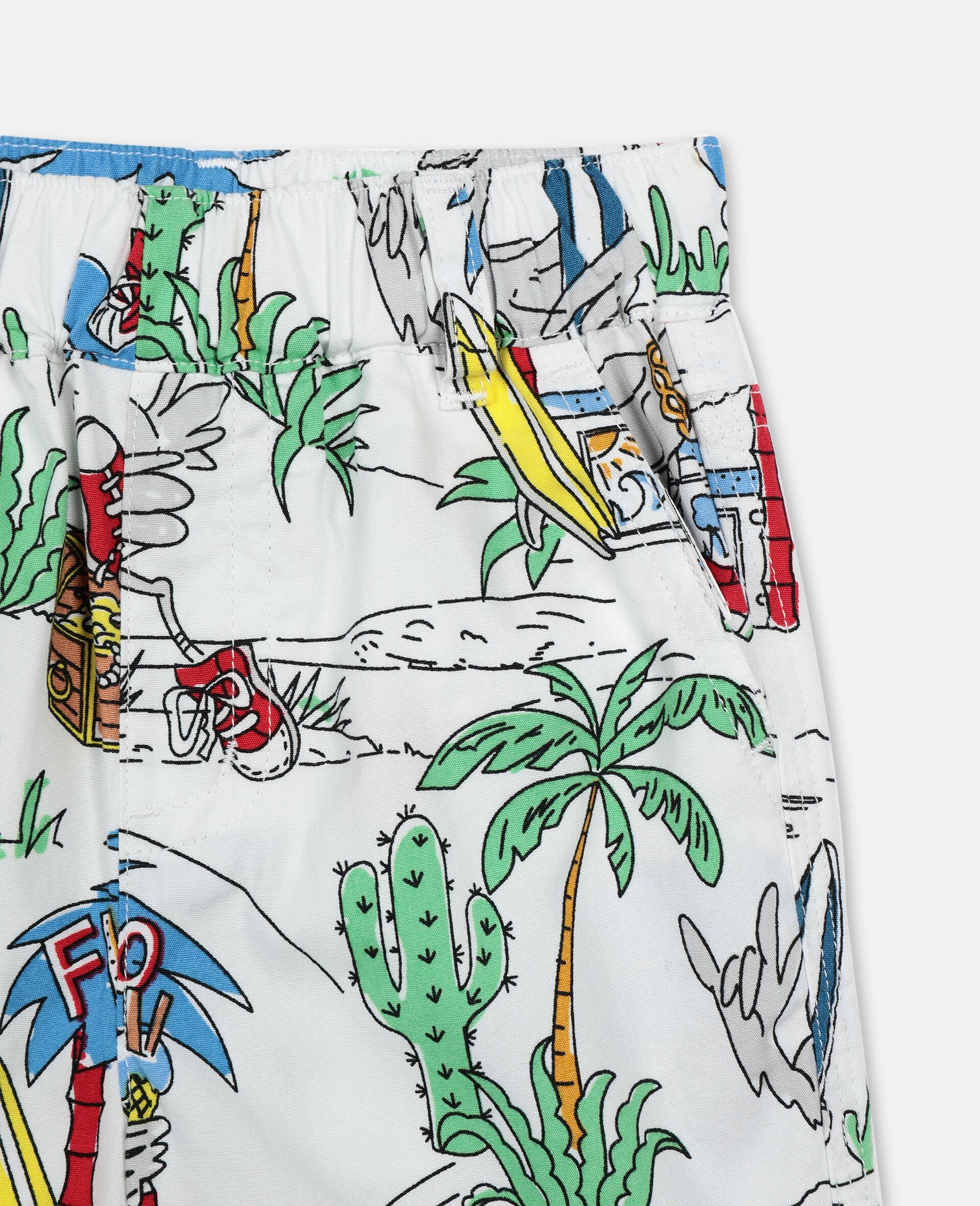 Shorts aus Baumwolle mit Flamingo-Land-Print -Bunt-large image number 3