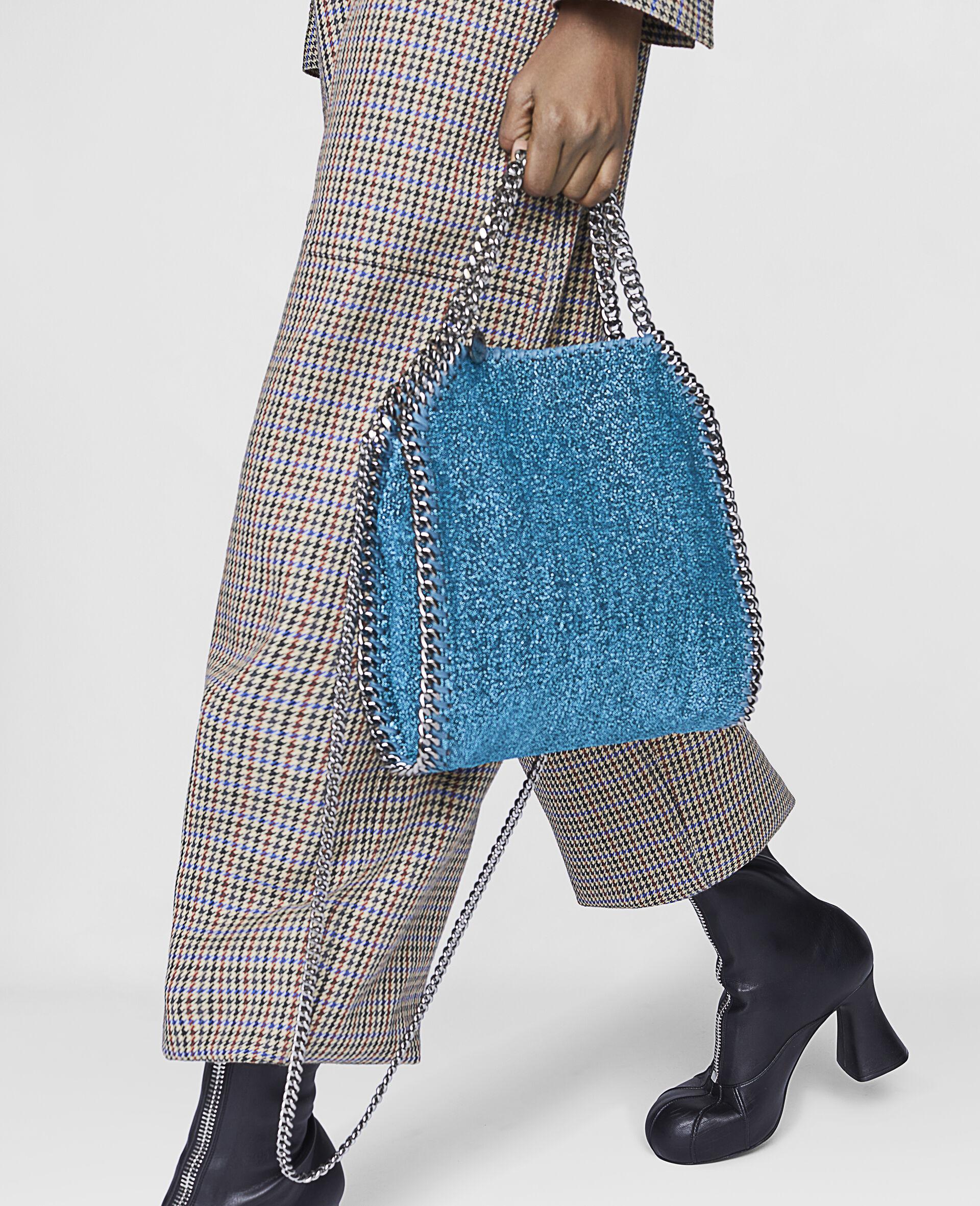 Falabella Mini Tote Bag aus glitzerndem Lurex-Blau-large image number 4