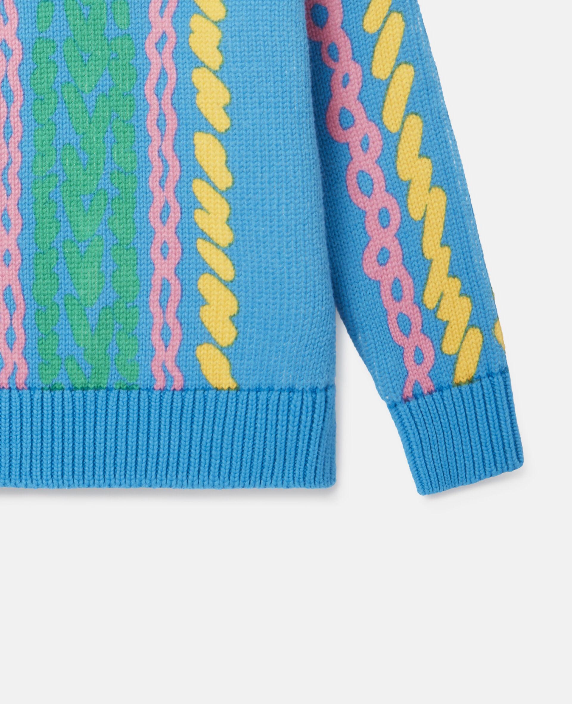 Comic Bubbles Oversized Knit Jumper-Blue-large image number 2