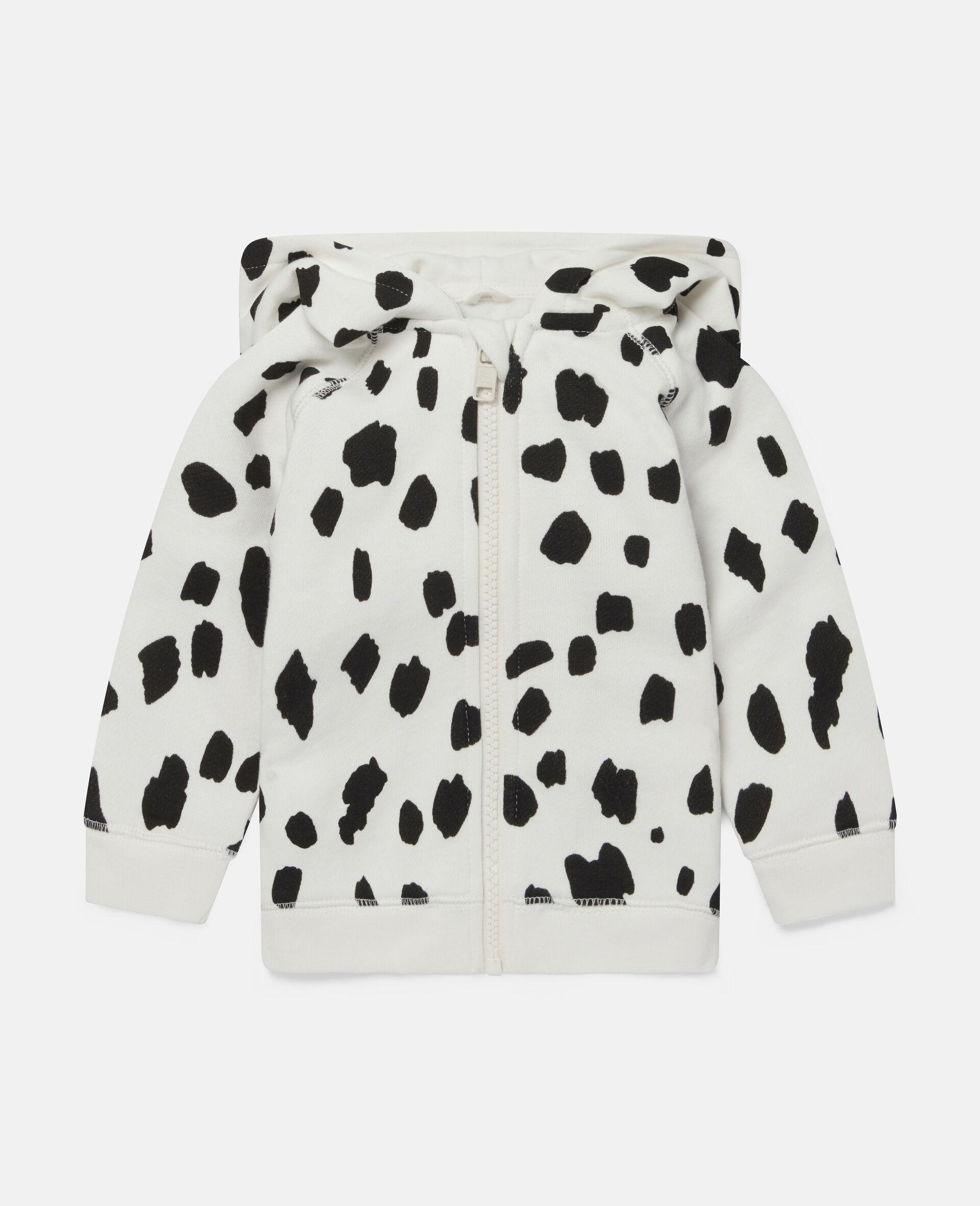 Kapuzenpullover aus Fleece mit Dalmatinerflecken-Weiß-large image number 0
