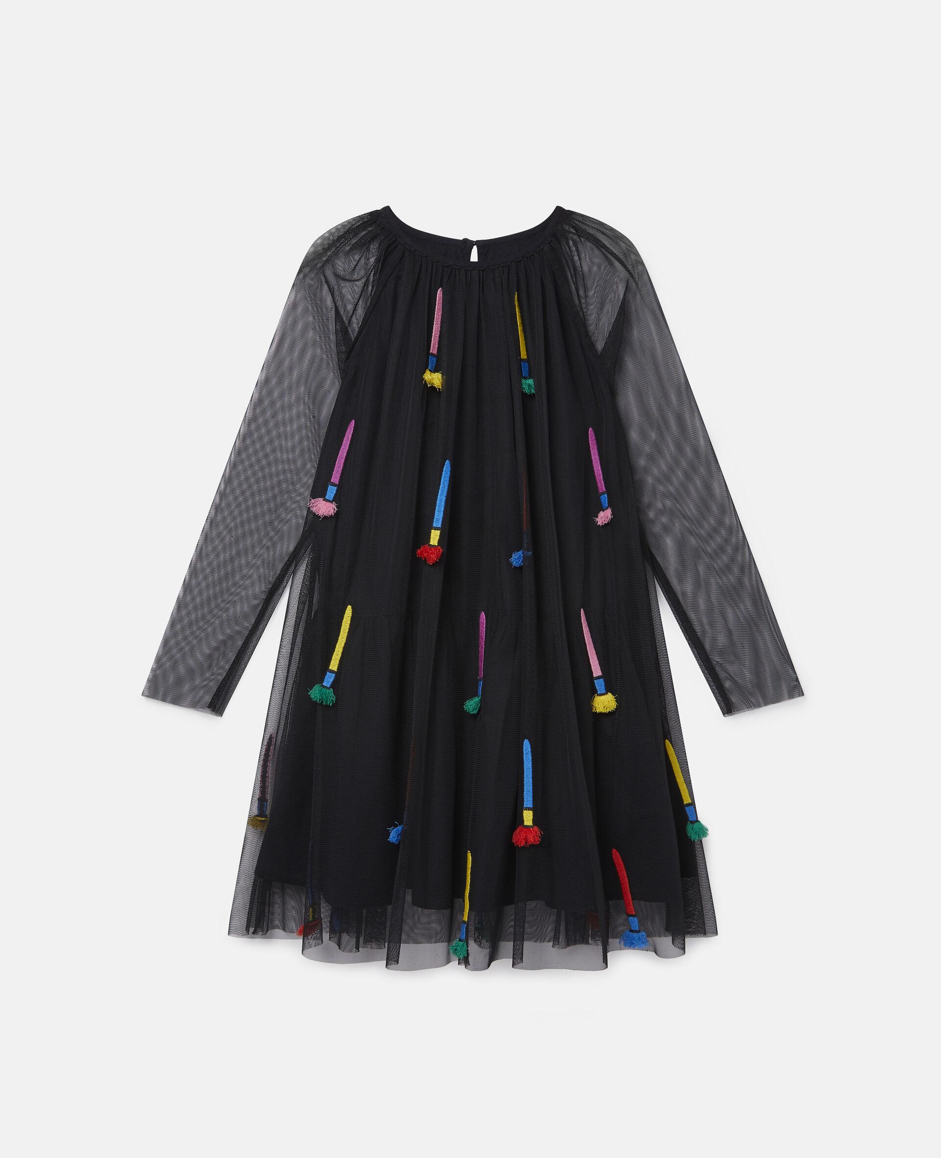 Kleid aus Tüll mit Pinsel-Stickerei-Schwarz-large image number 0
