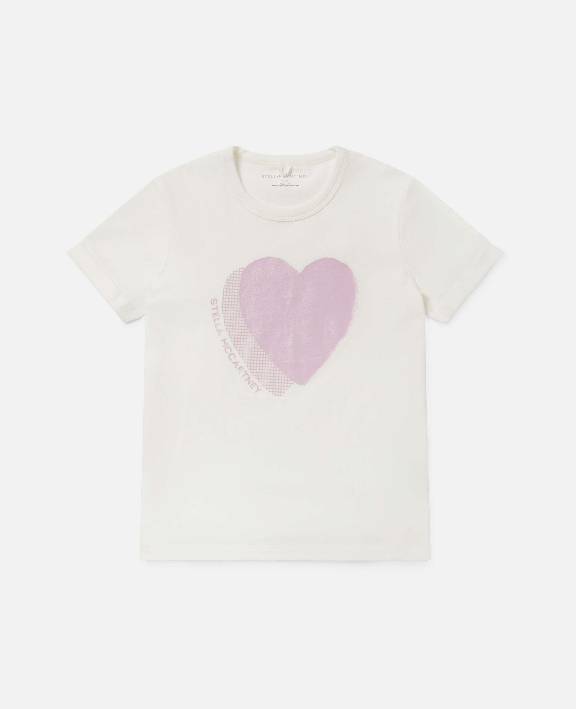 Heart Logo Cotton T-shirt -White-large image number 0