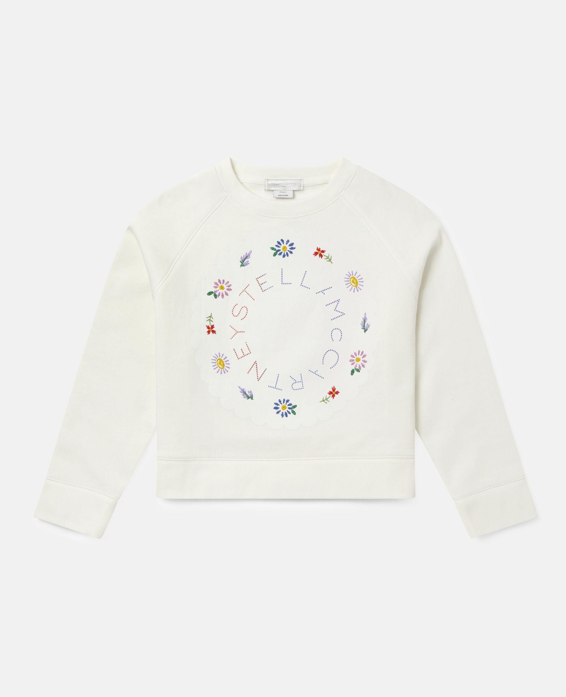 Übergroßes Baumwollfleece-Sweatshirt mit Logo-Weiß-large image number 0