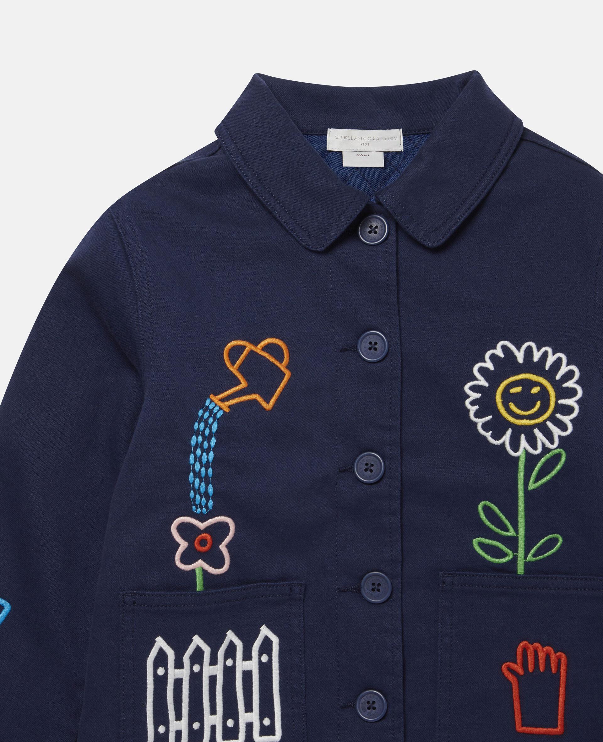 Embroidered Garden Denim Jacket -Blue-large image number 1