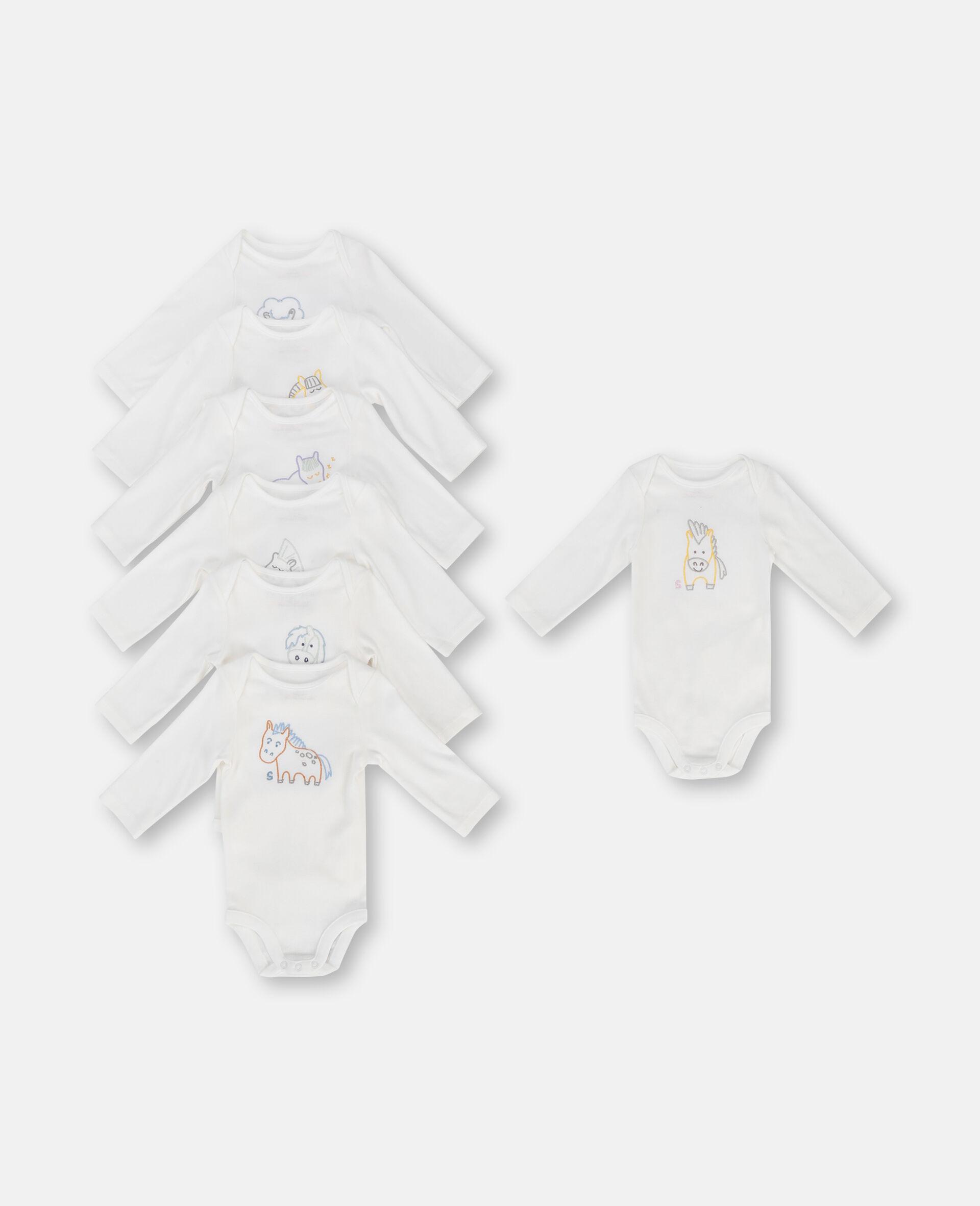 Embroidered Horses Week Rib Bodies Set-White-large image number 0