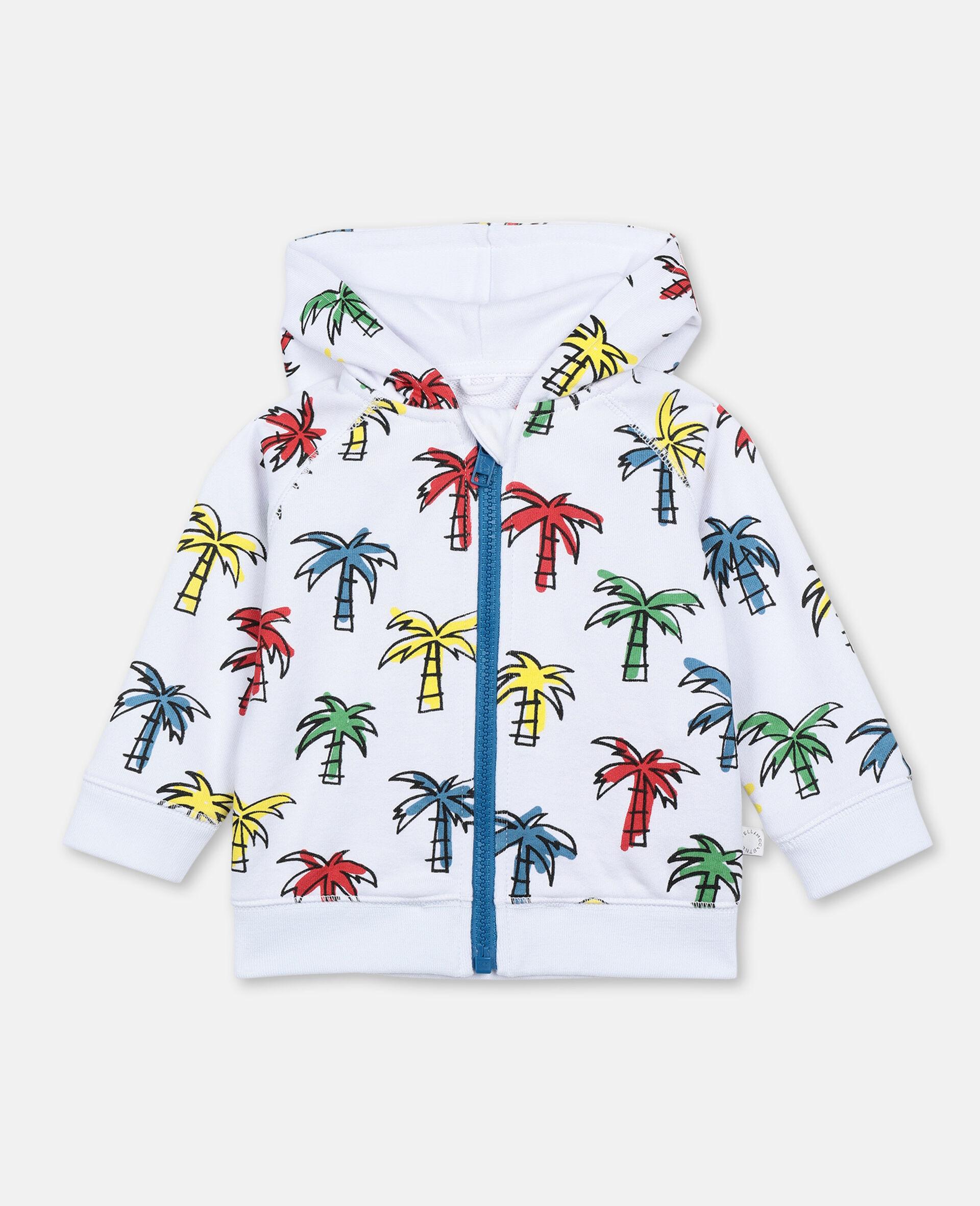 Sweat-shirt à capuche à palmiers gribouillés-Fantaisie-large image number 0