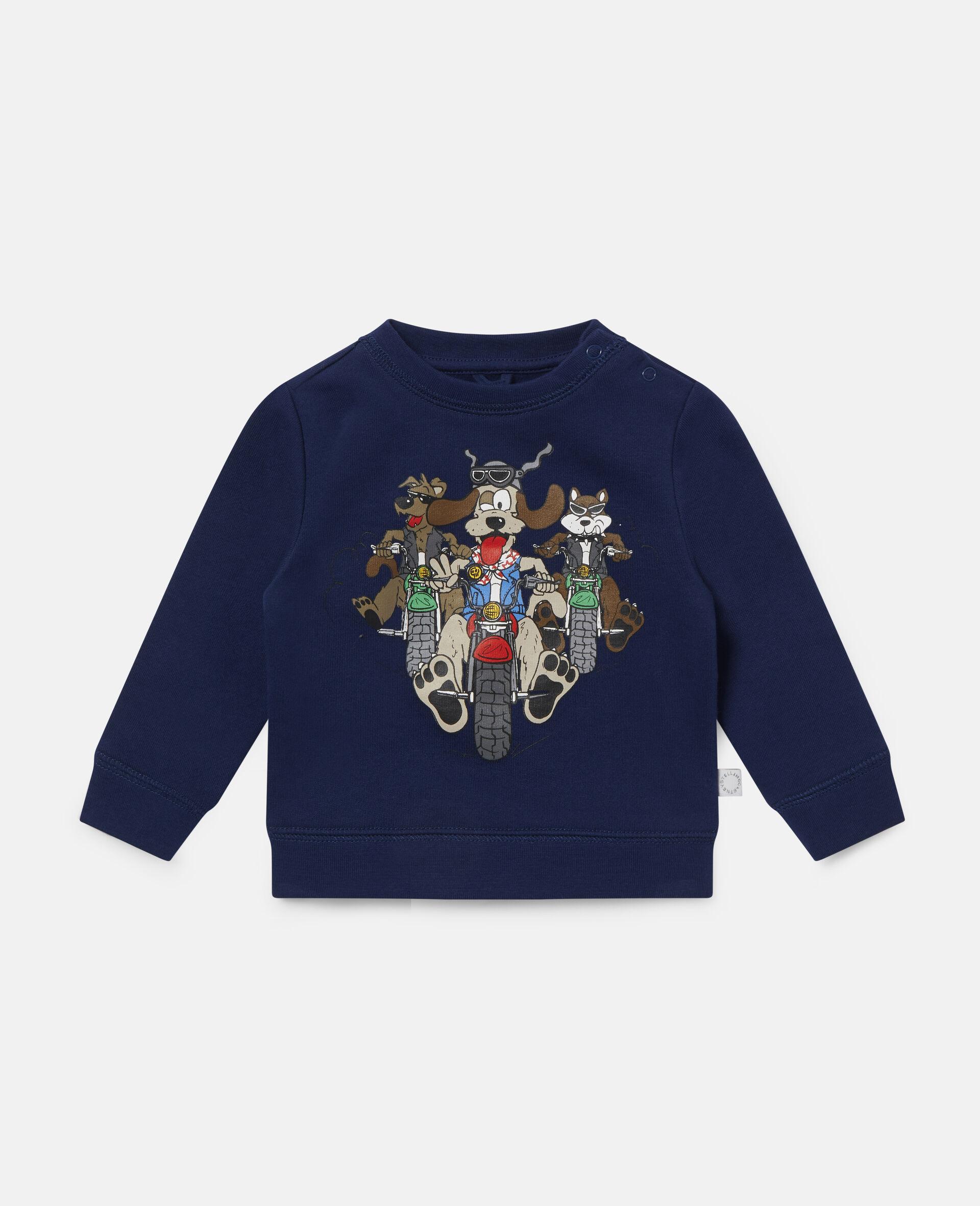 Sweat-shirt en polaire imprimé chiens motards-Bleu-large image number 0