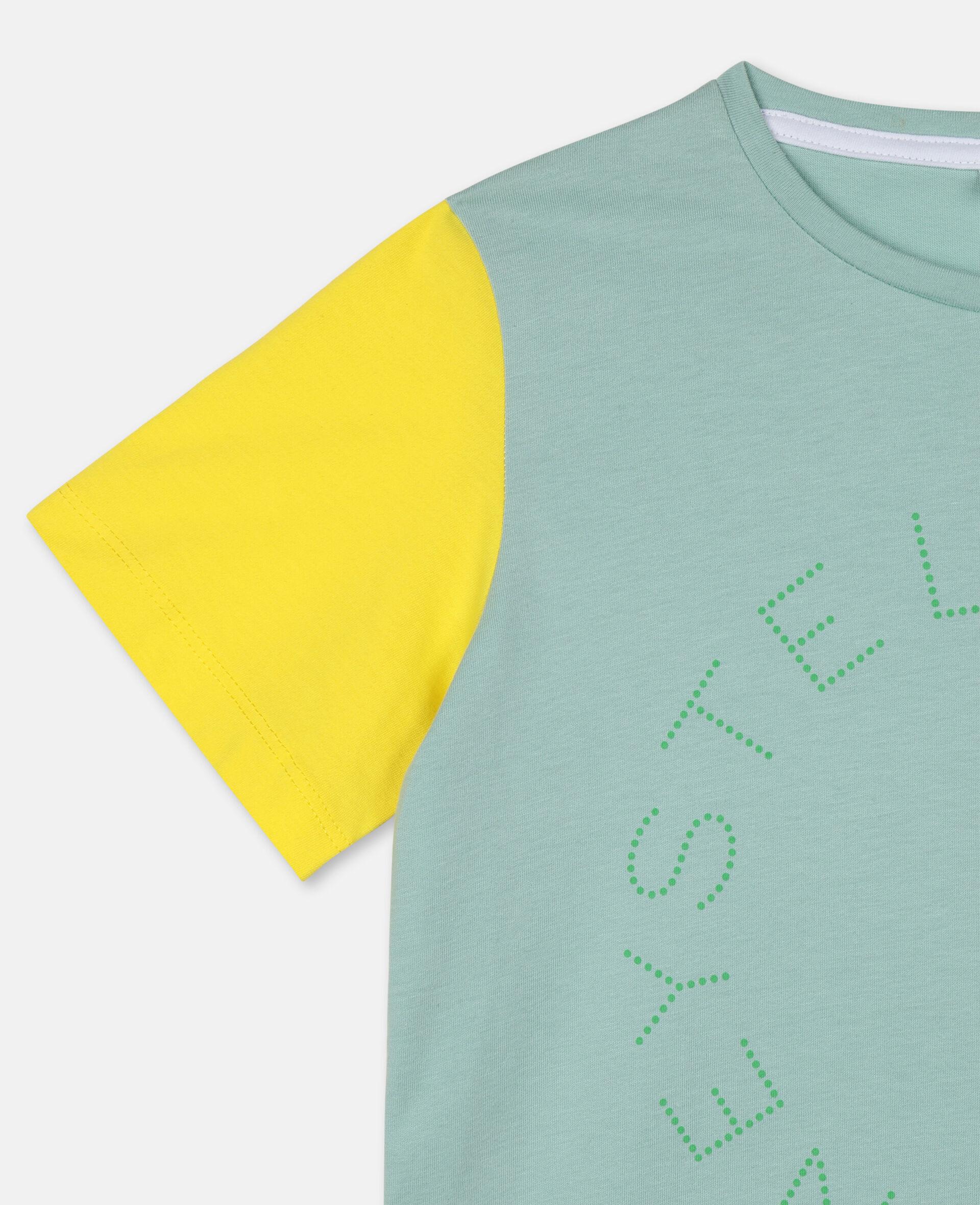 Baumwoll-T-Shirt mit Colourblock-Design und Logo-Grün-large image number 1