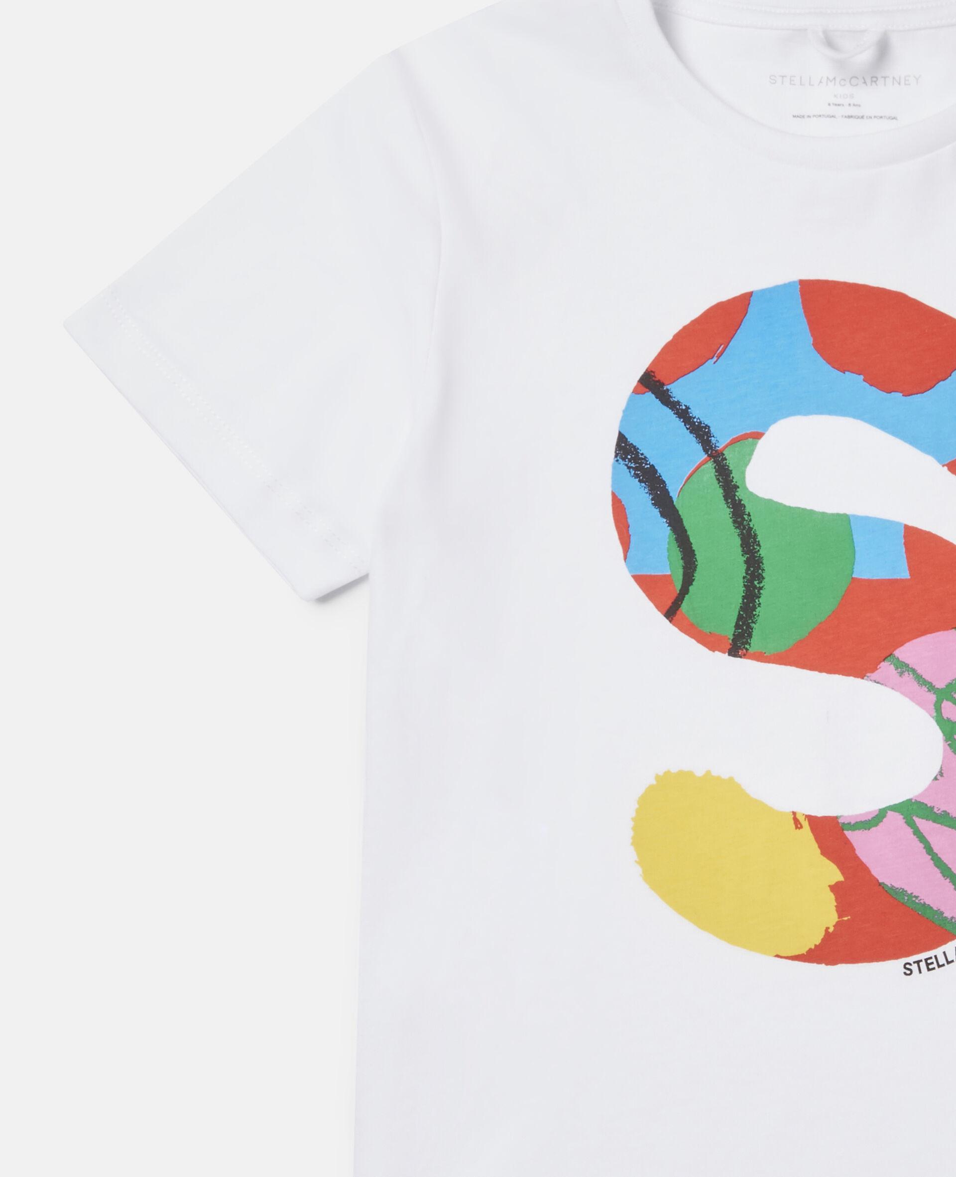 T-Shirt aus Baumwolle mit Malerei-Logo -Weiß-large image number 2