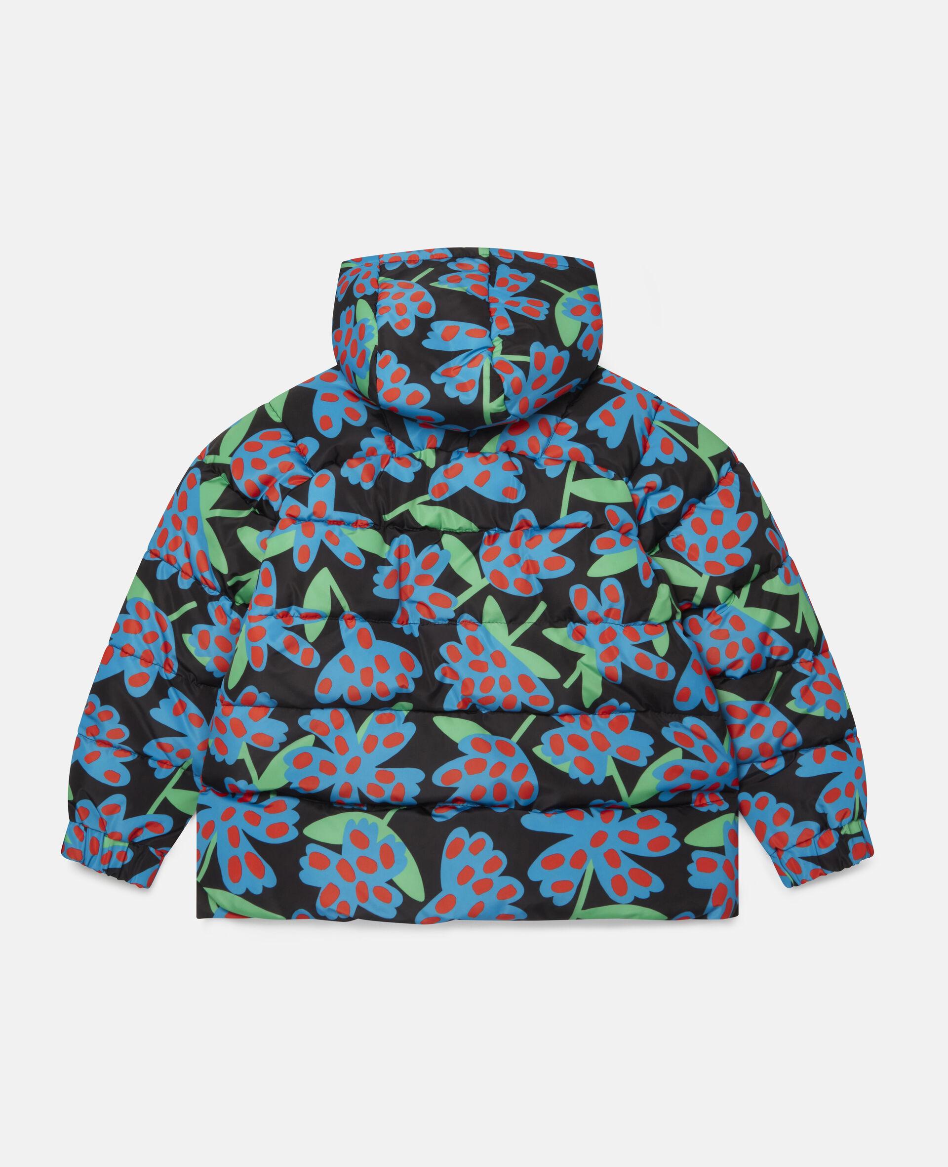 Doudoune à capuche motif fleurs à pois -Bleu-large image number 3