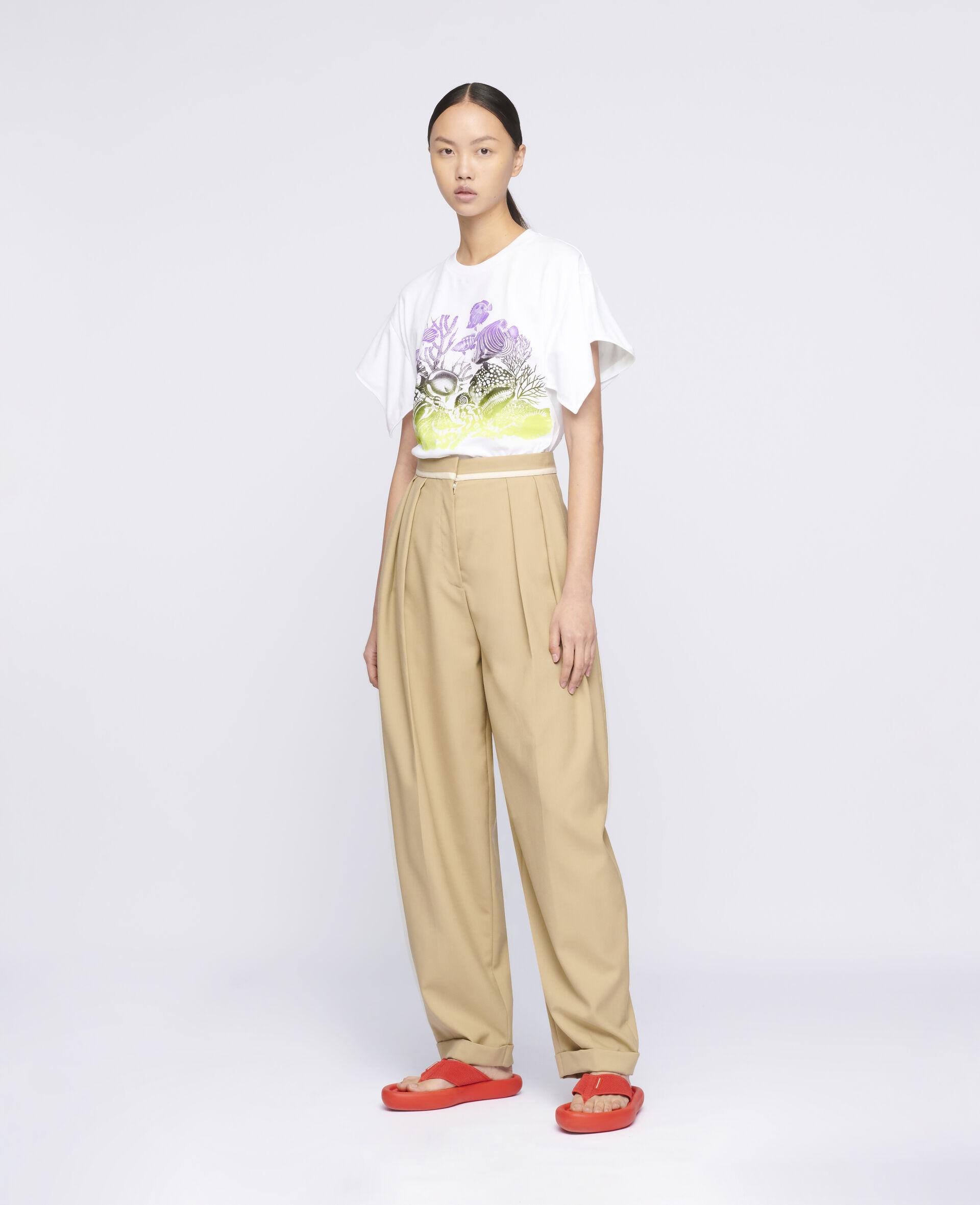 Sealife Print Cotton T-Shirt-White-large image number 1