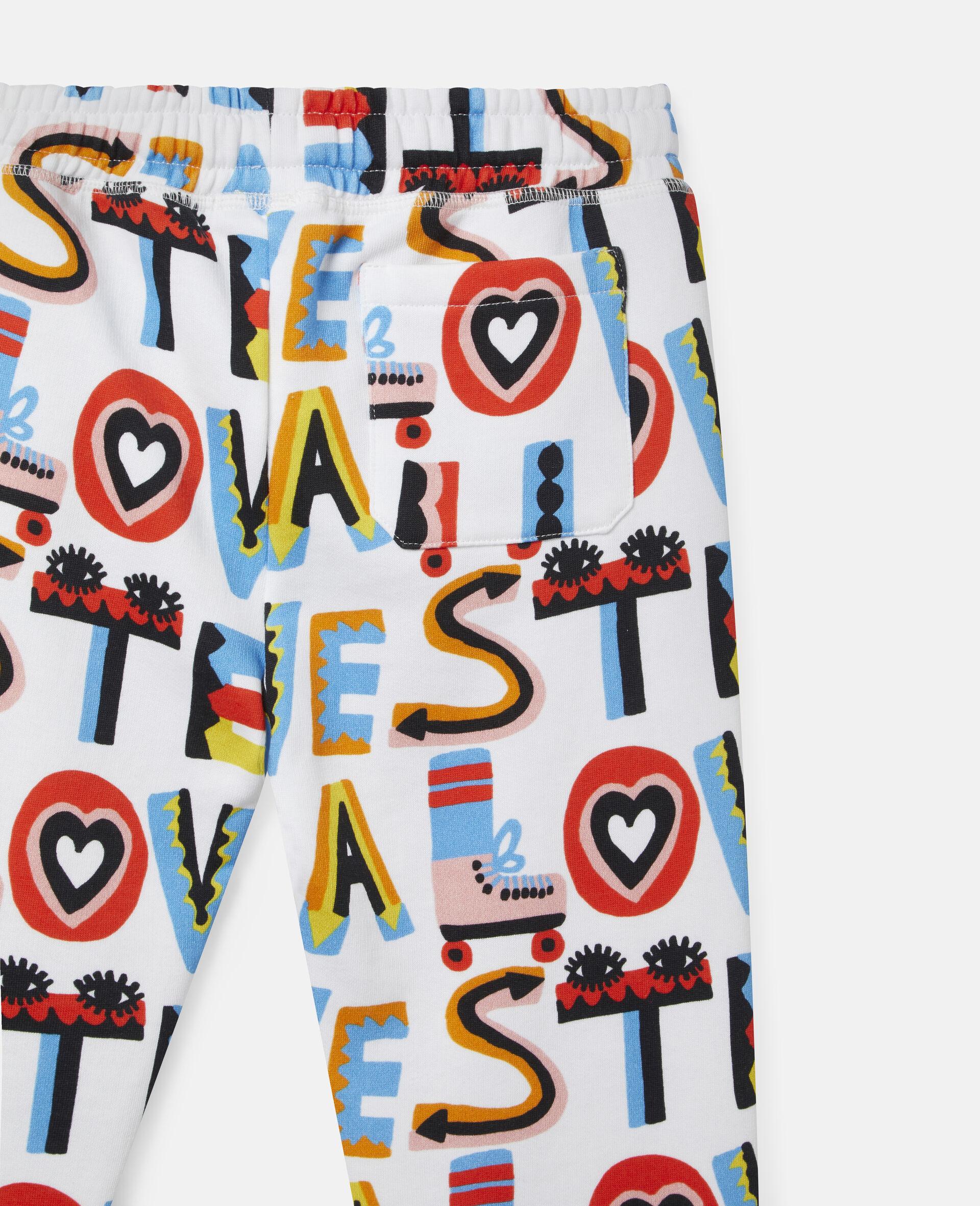 Pantalon de jogging en polaire de coton Stella Loves-Blanc-large image number 2