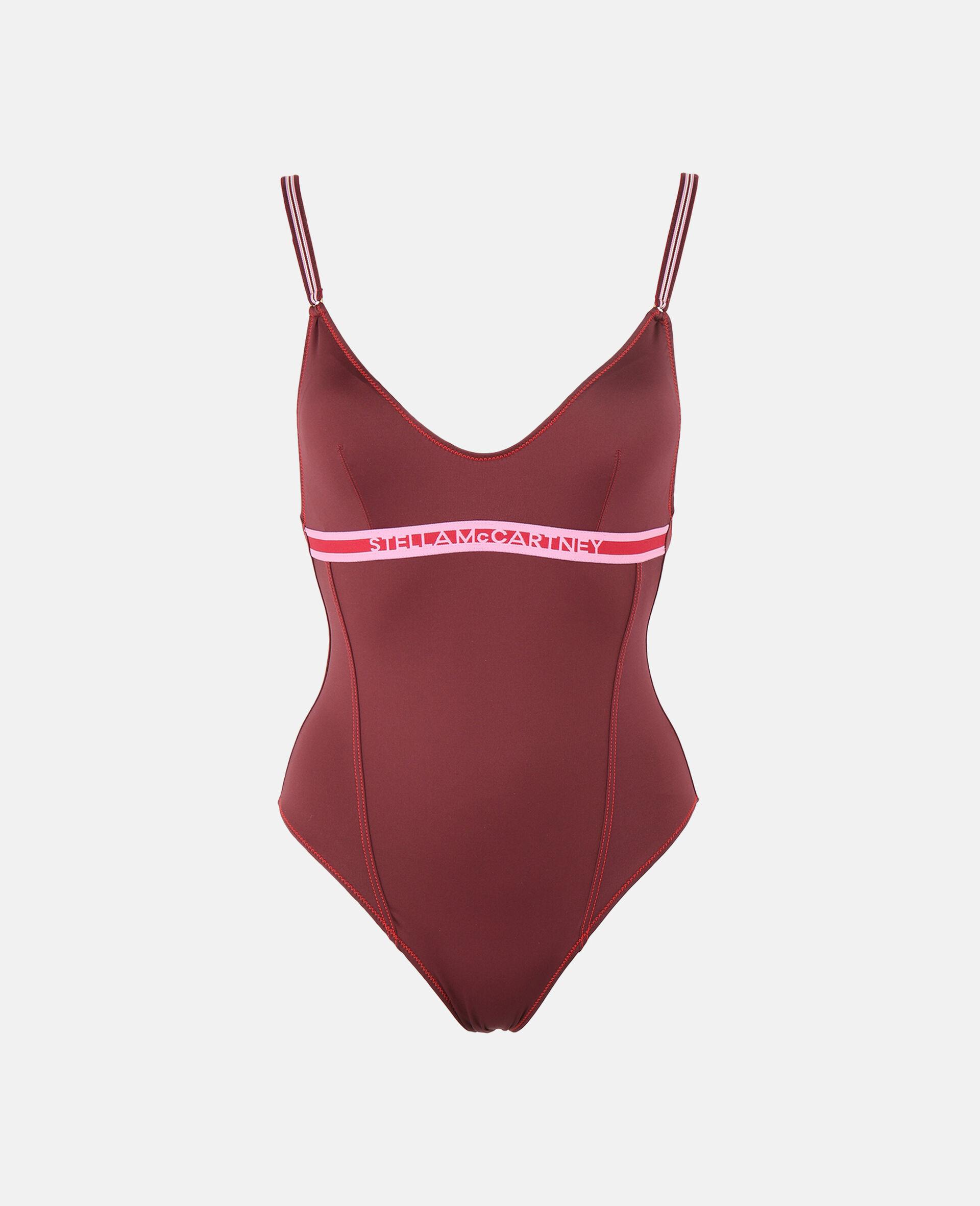 Logo Tape Padded Swimsuit-Burgundy-large image number 0