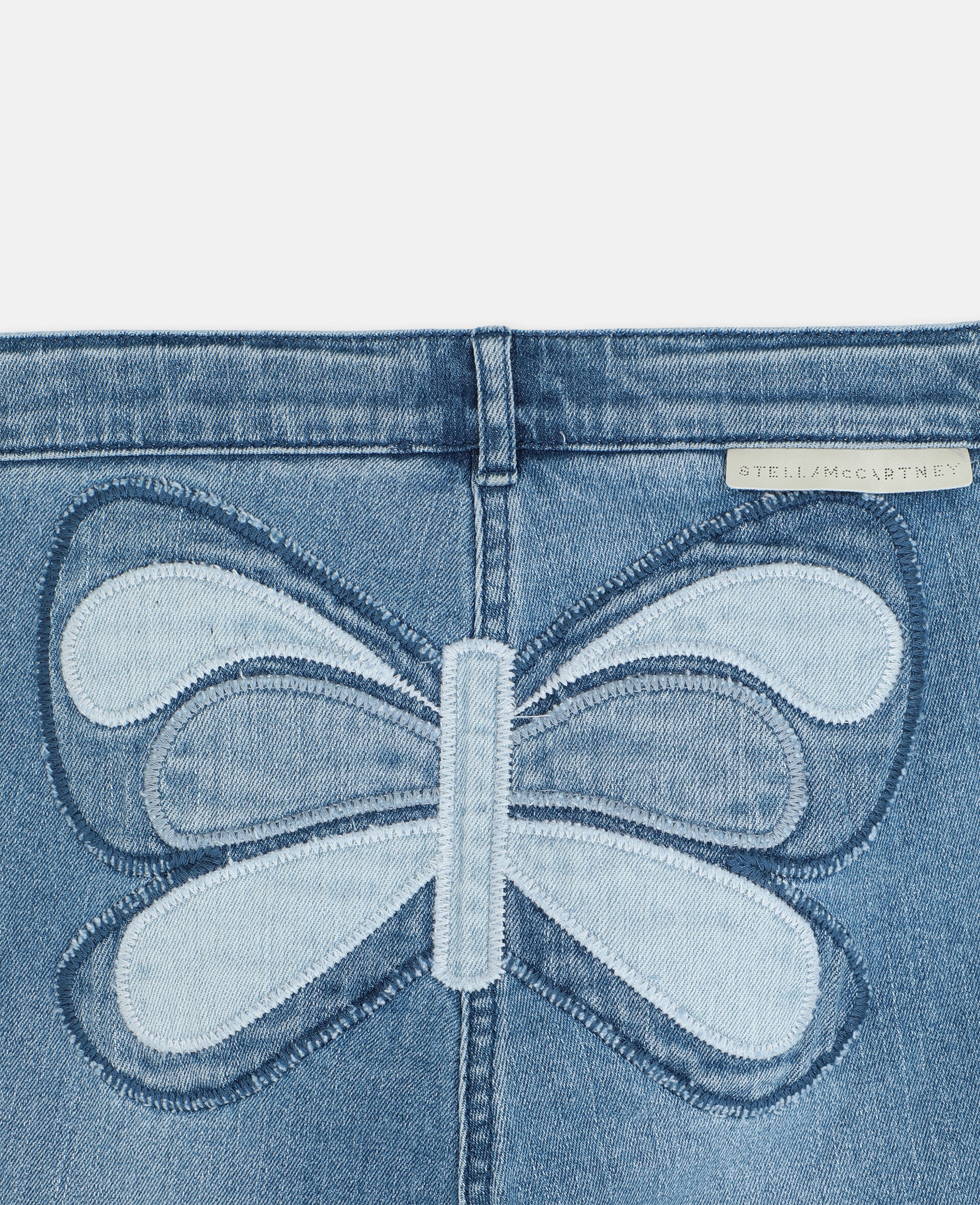 Butterfly Patch Flared Denim Trousers-Blue-large image number 2