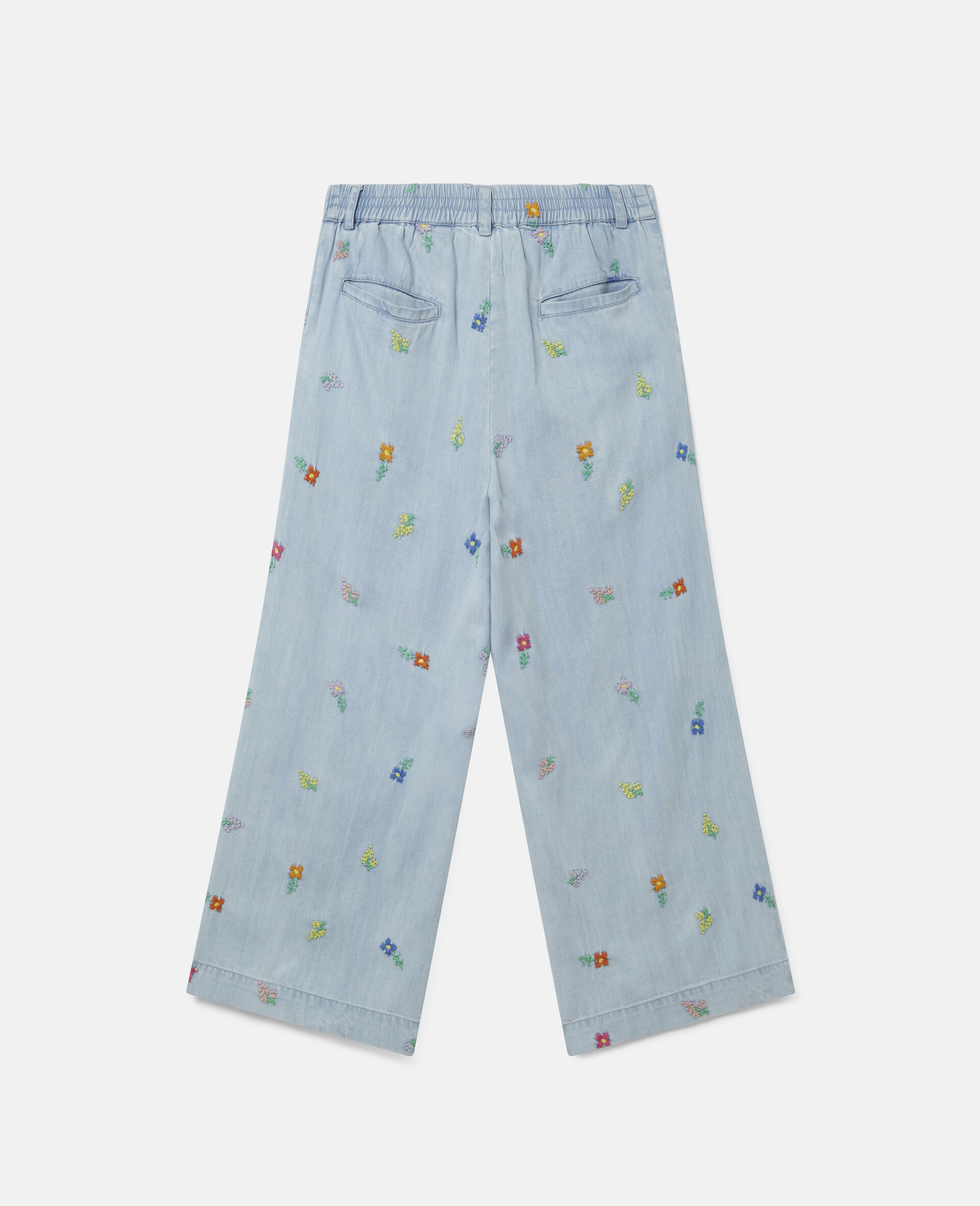 Embroidered Flowers Denim Trousers-Blue-large image number 3