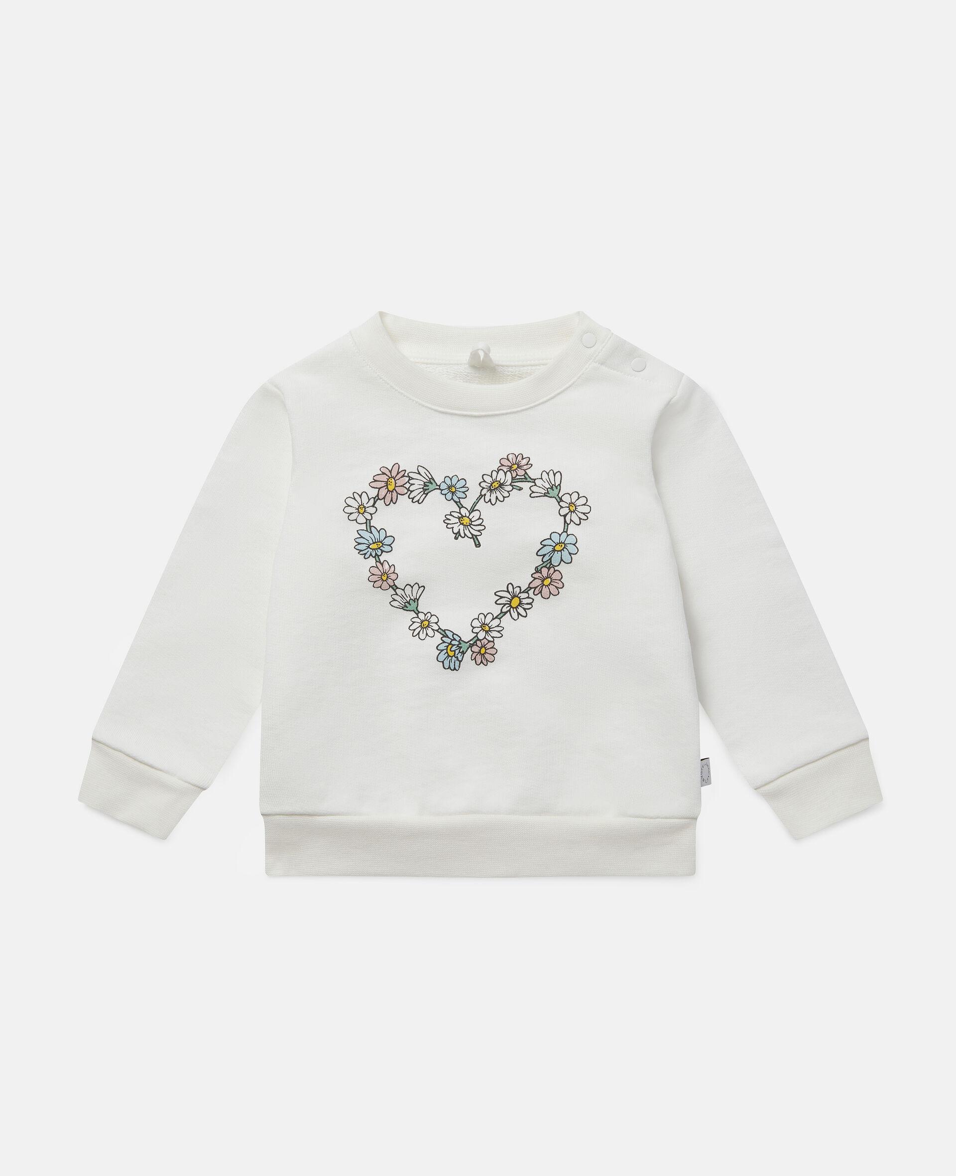 Daisy Heart Cotton Fleece Sweatshirt -White-large image number 0