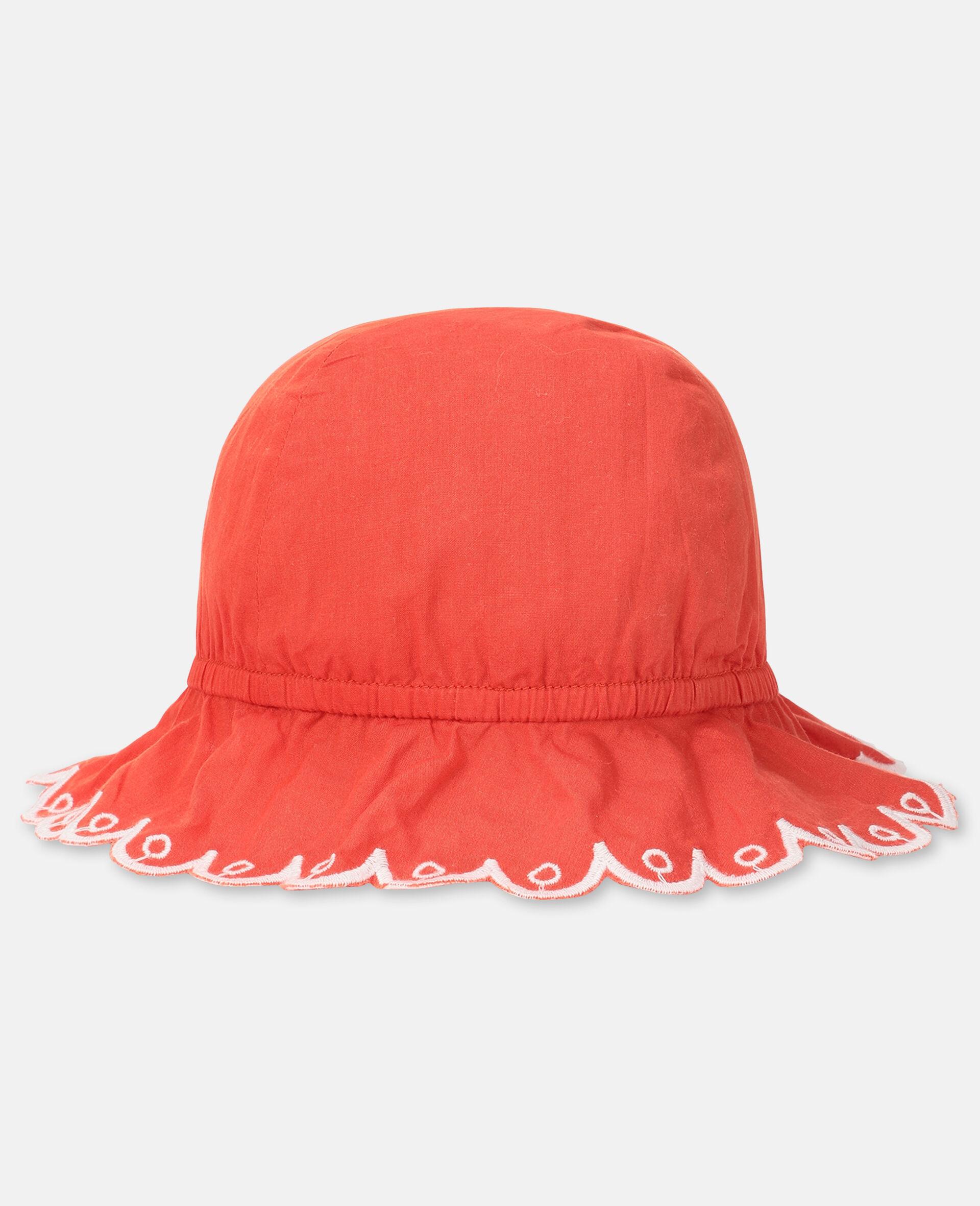 Chapeau en coton festonné -Rouge-large image number 0