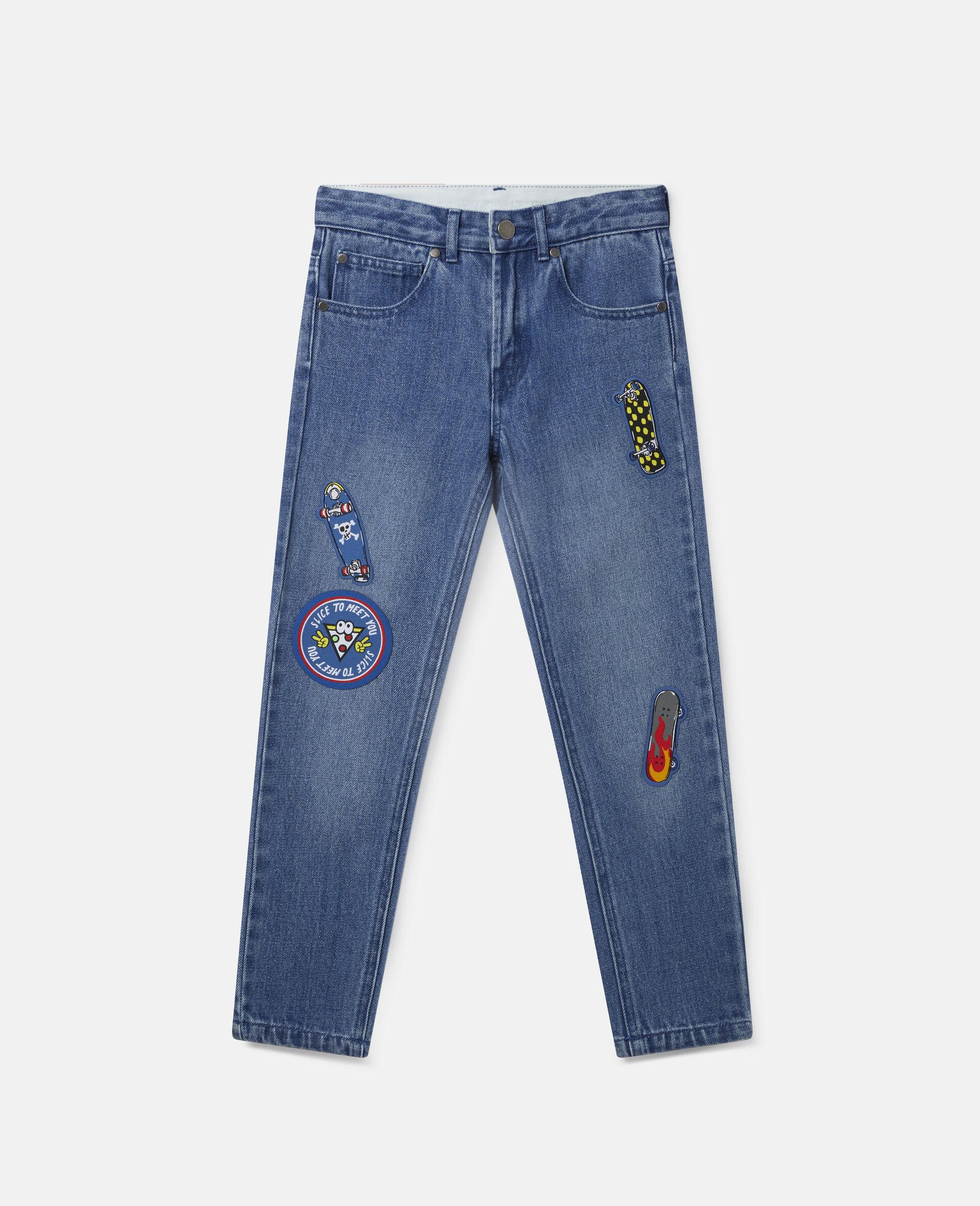 Pantalon en denim à écussons skateboard-Bleu-large image number 0