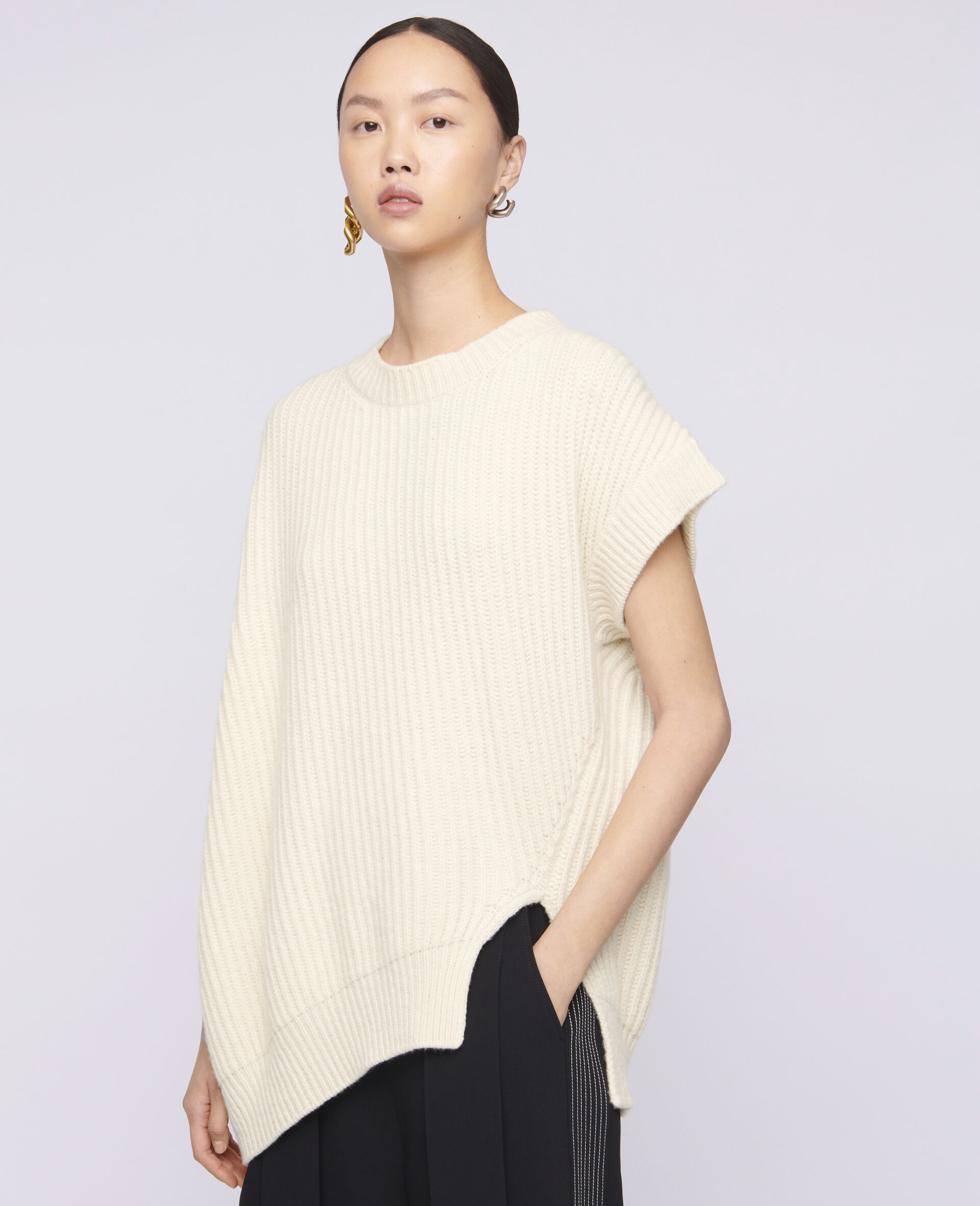 柔软无袖针织衫-米色-large image number 3