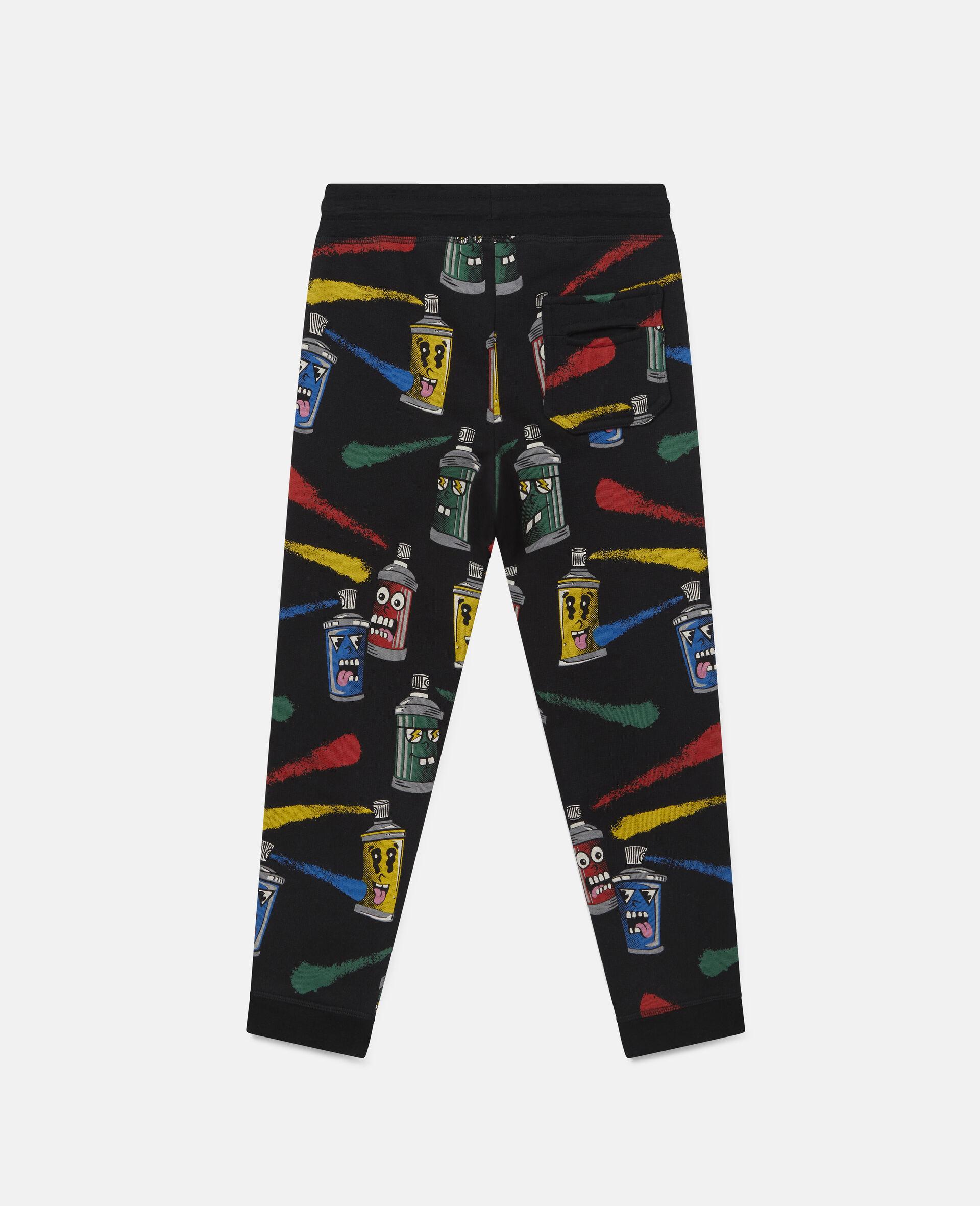 Pantalon de jogging en polaire imprimé visages aérosols-Noir-large image number 3