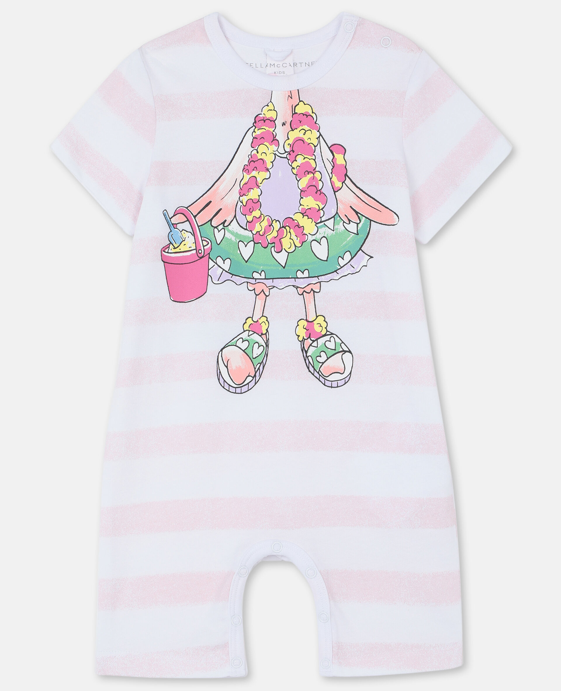 Trompe-L'Oeil Flamingo Cotton All-In-One-White-large image number 0
