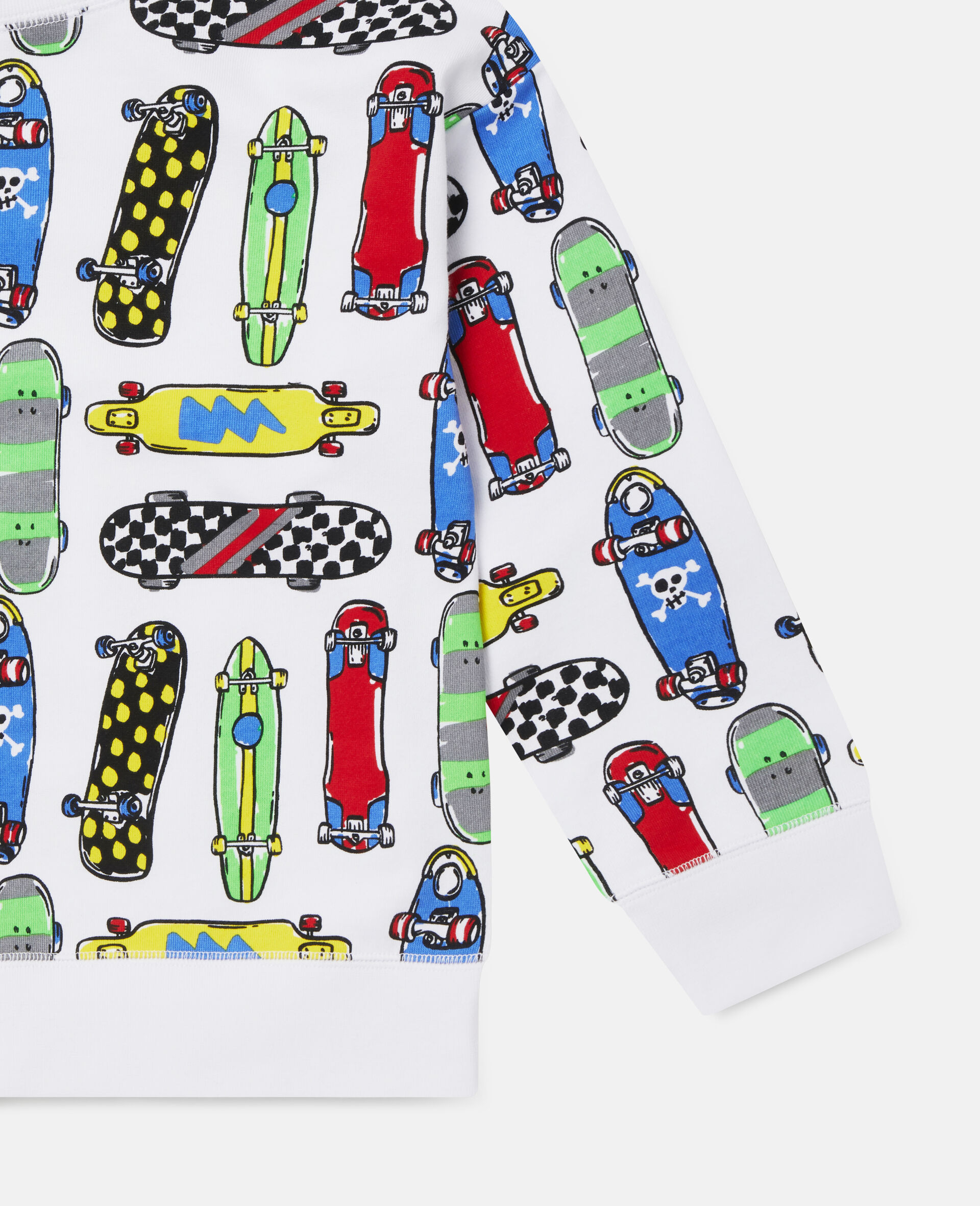 Übergroßes Fleece-Sweatshirt mit Skateboardmotiv-Weiß-large image number 2