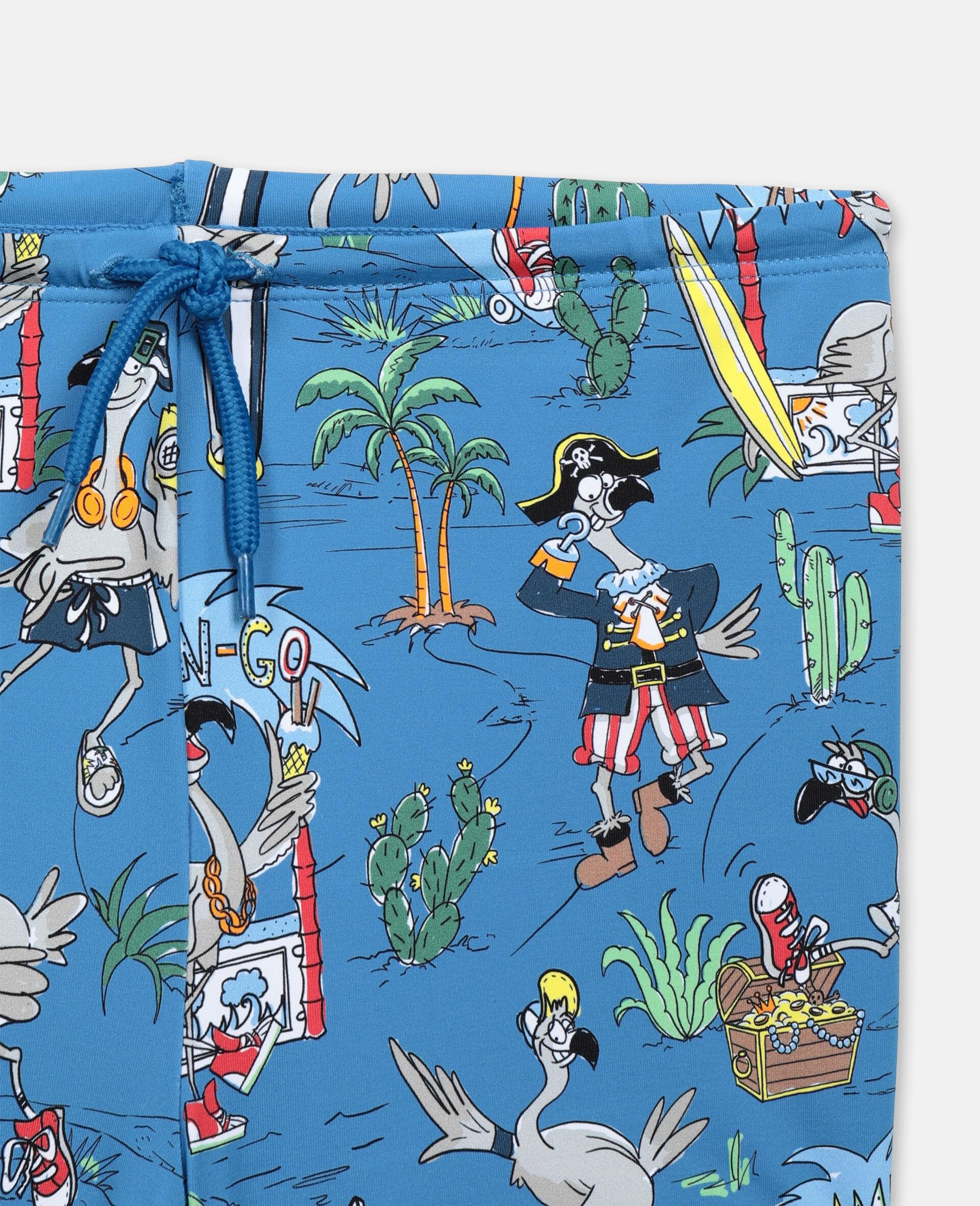 Badeset mit Flamingo-Land-Print -Blau-large image number 1