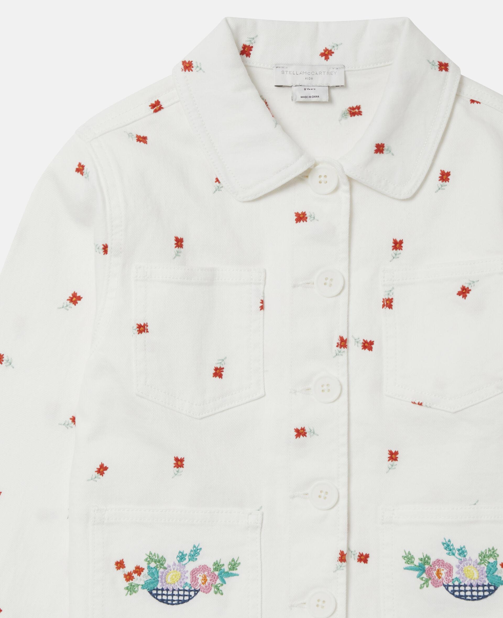 Embroidered Flowers Denim Jacket -White-large image number 1