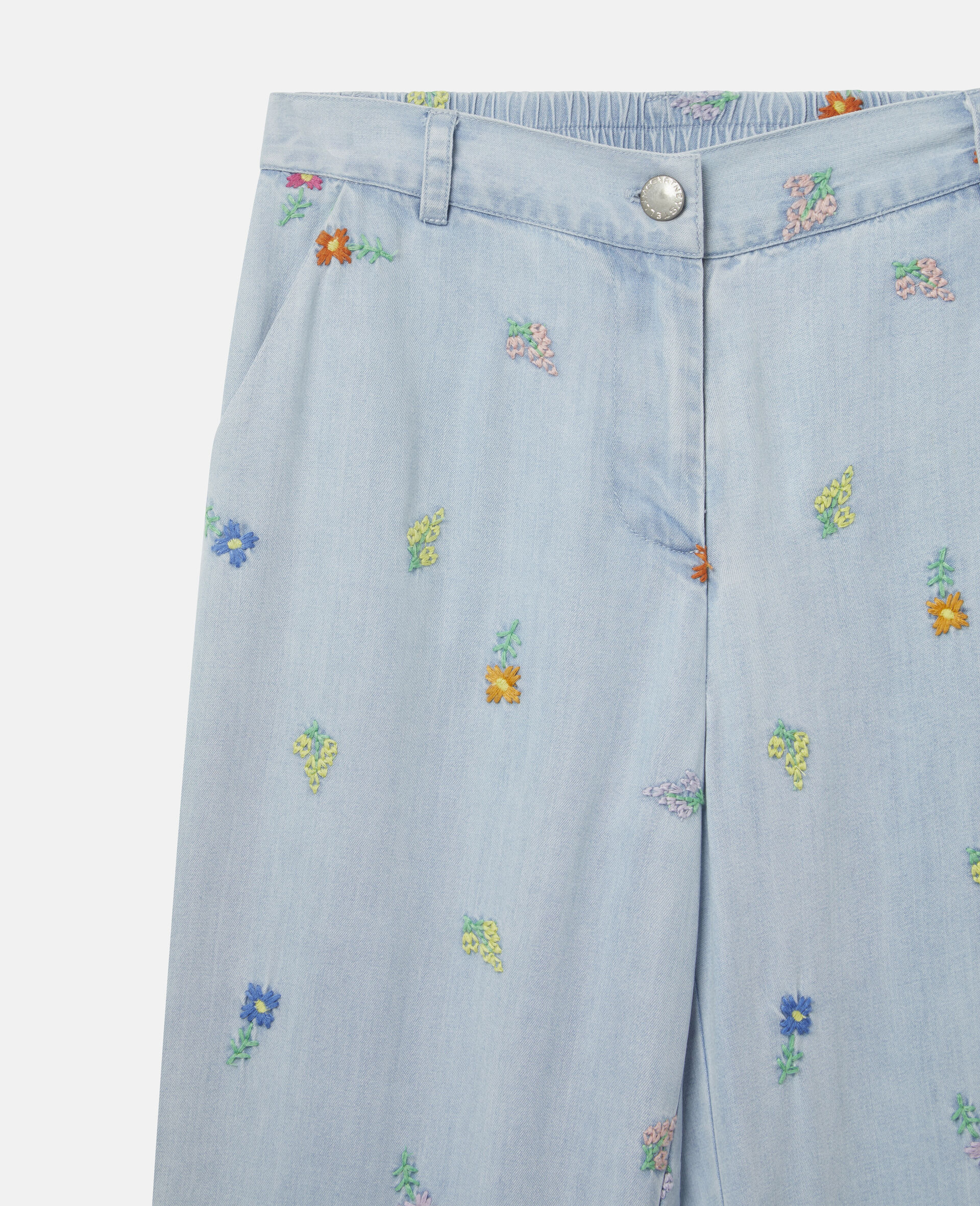 Embroidered Flowers Denim Trousers-Blue-large image number 1