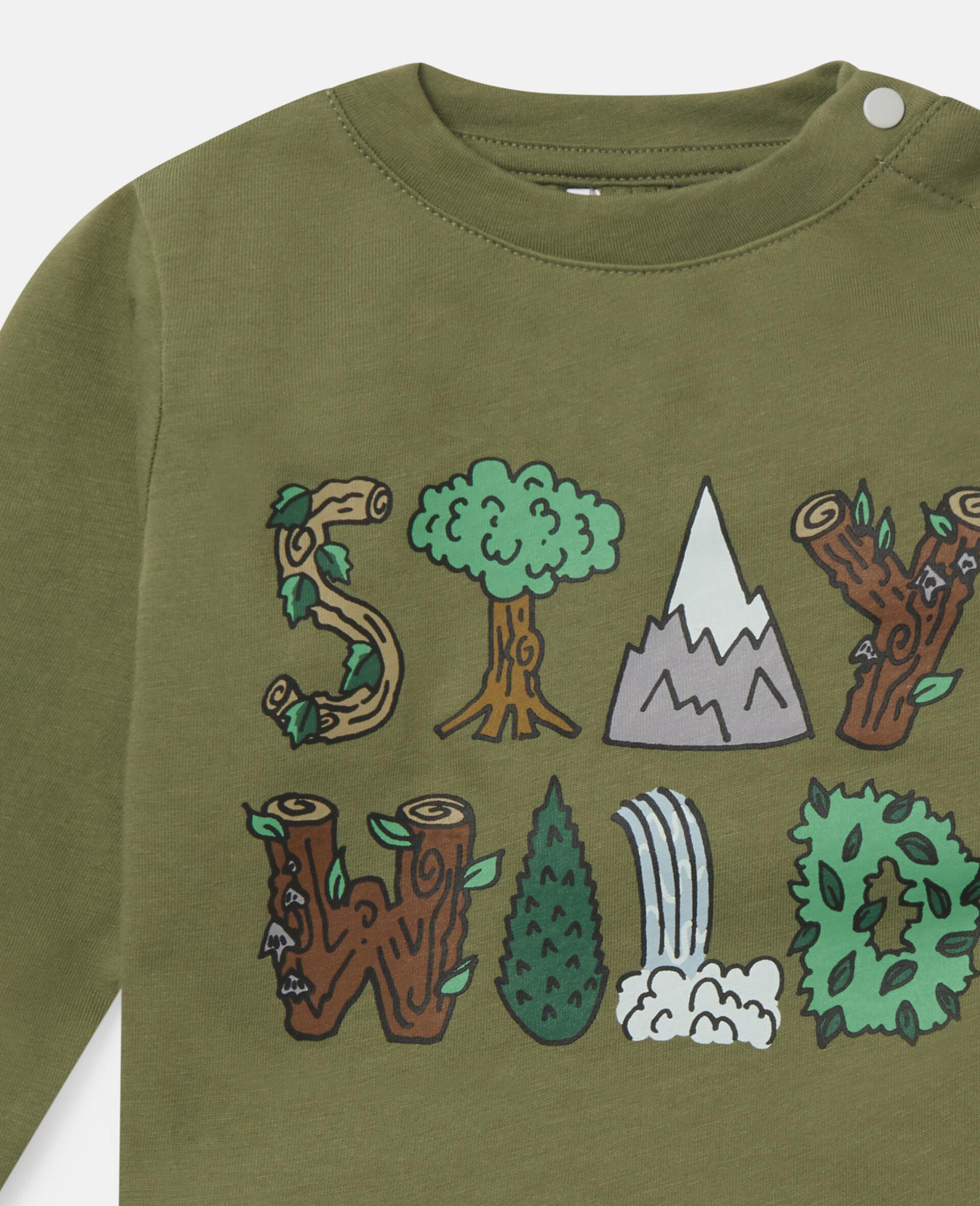 Haut en coton «Stay Wild»-Vert-large image number 1
