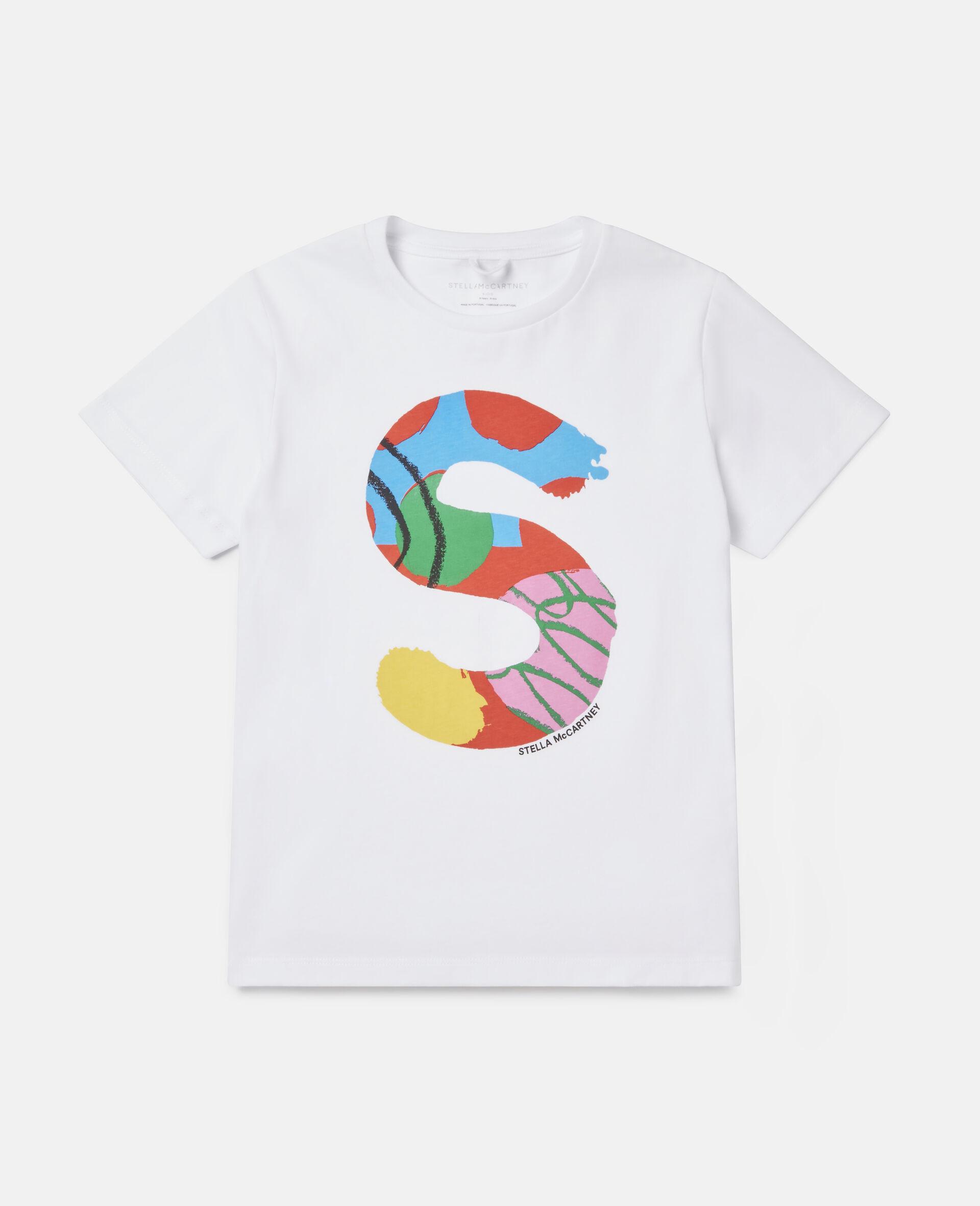 T-Shirt aus Baumwolle mit Malerei-Logo -Weiß-large image number 0