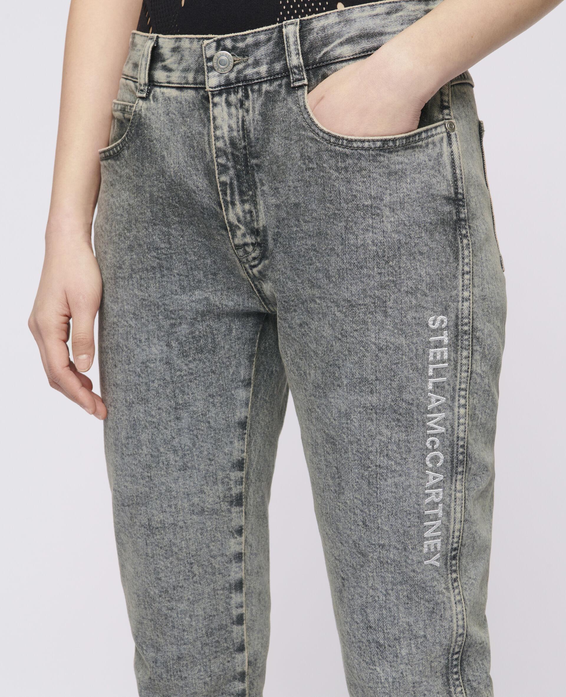 紧身男友式牛仔裤-灰色-large image number 3