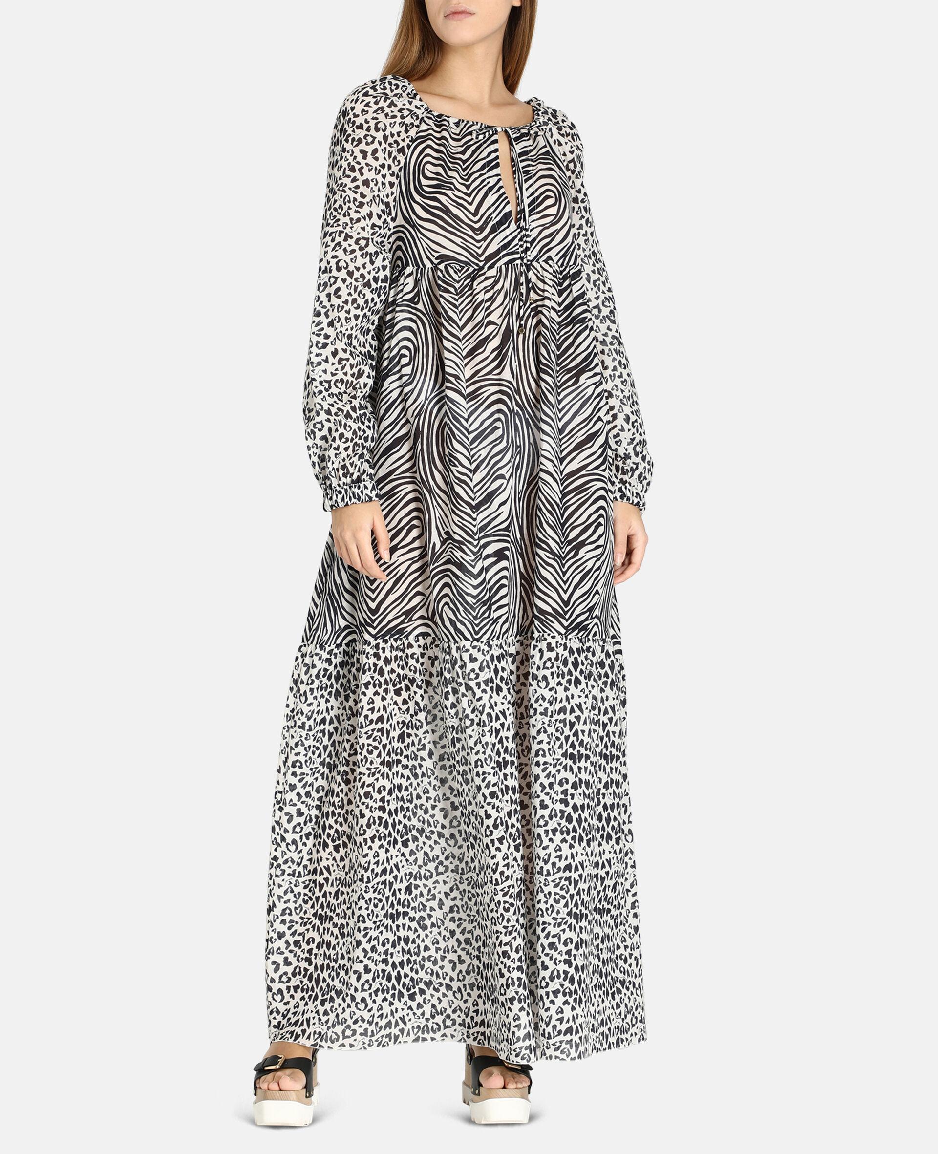 Robe longue à imprimé mix animalier-Noir-large image number 1