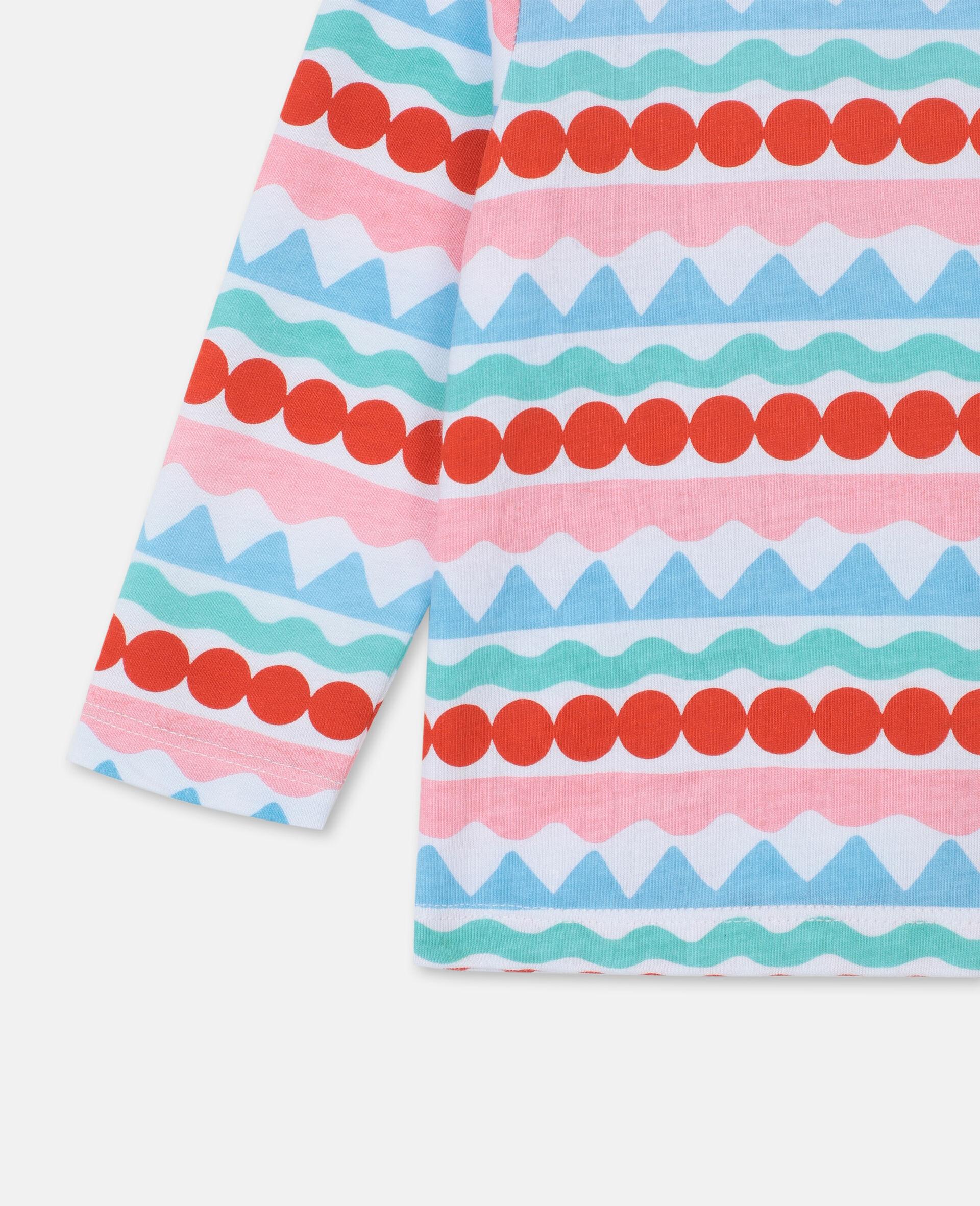 Graphic Stripes Cotton T-shirt-Multicolour-large image number 2