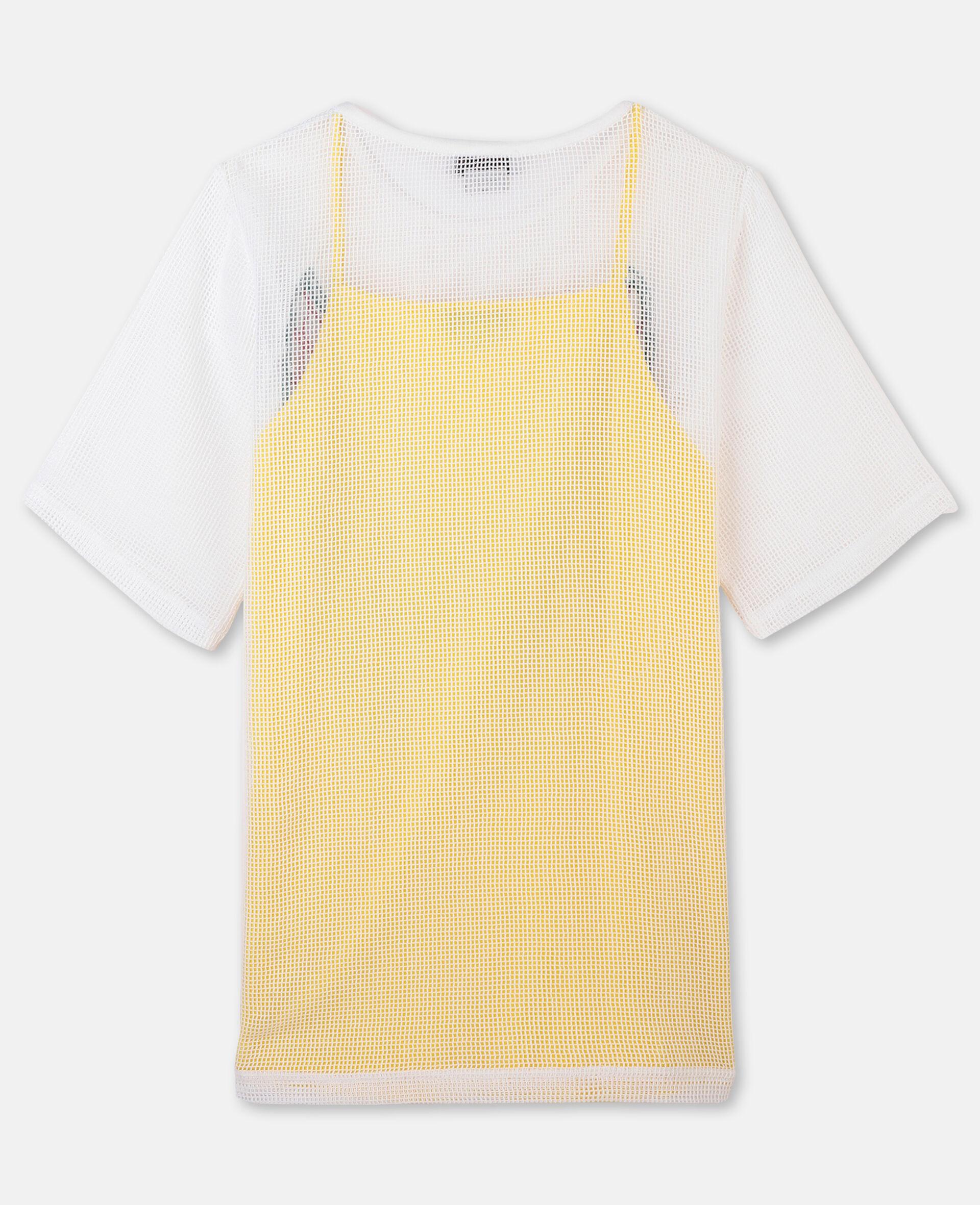 Kleid aus Baumwollmesh mit Schmetterlingen-Weiß-large image number 3