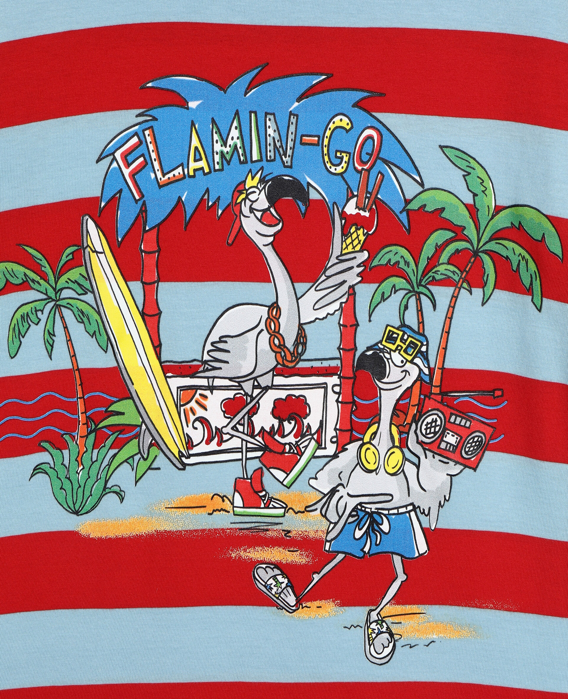 Flamingo Party Cotton T-shirt -Red-large image number 1