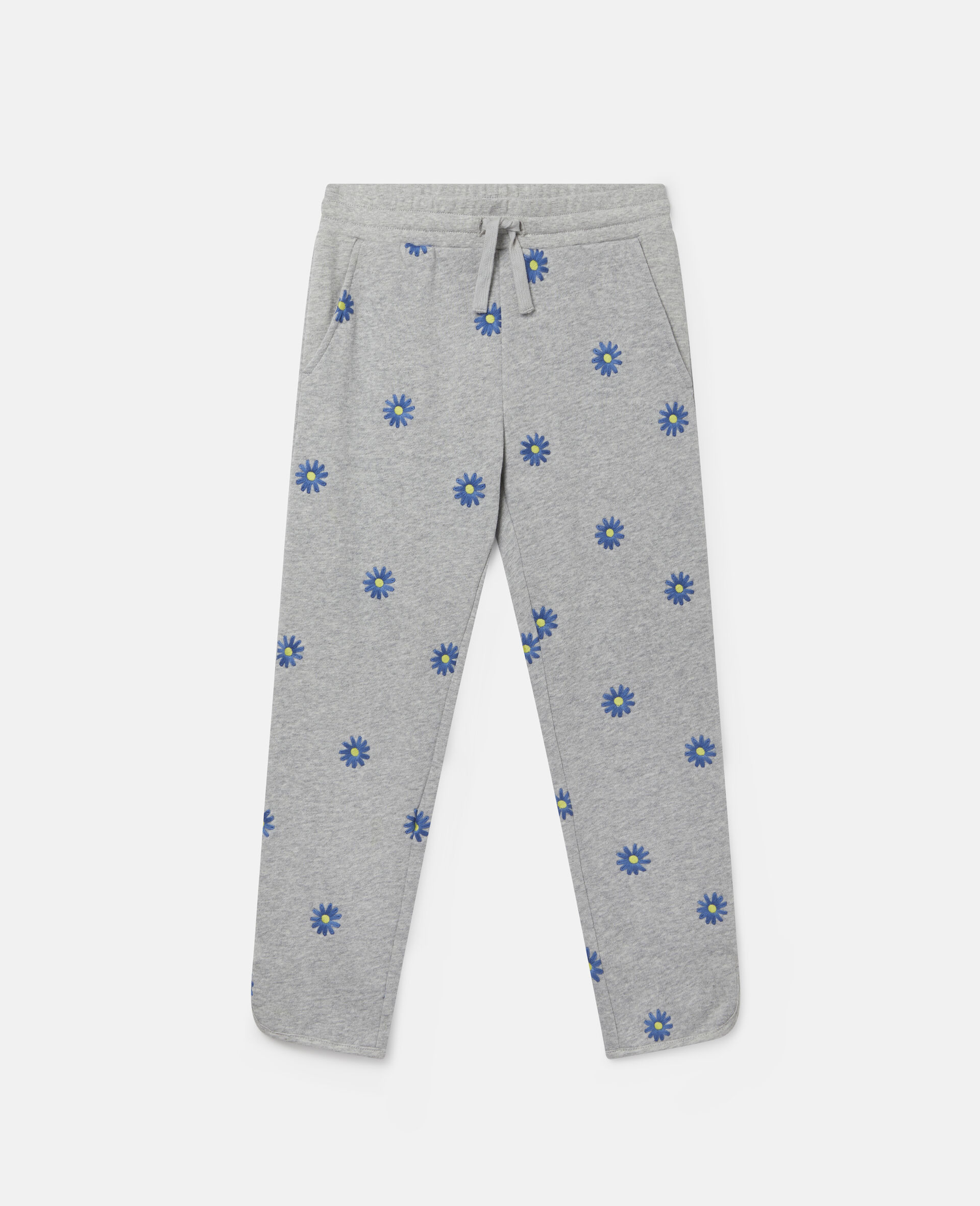 Embroidered Daisies Cotton Fleece Joggers-Grey-large image number 0