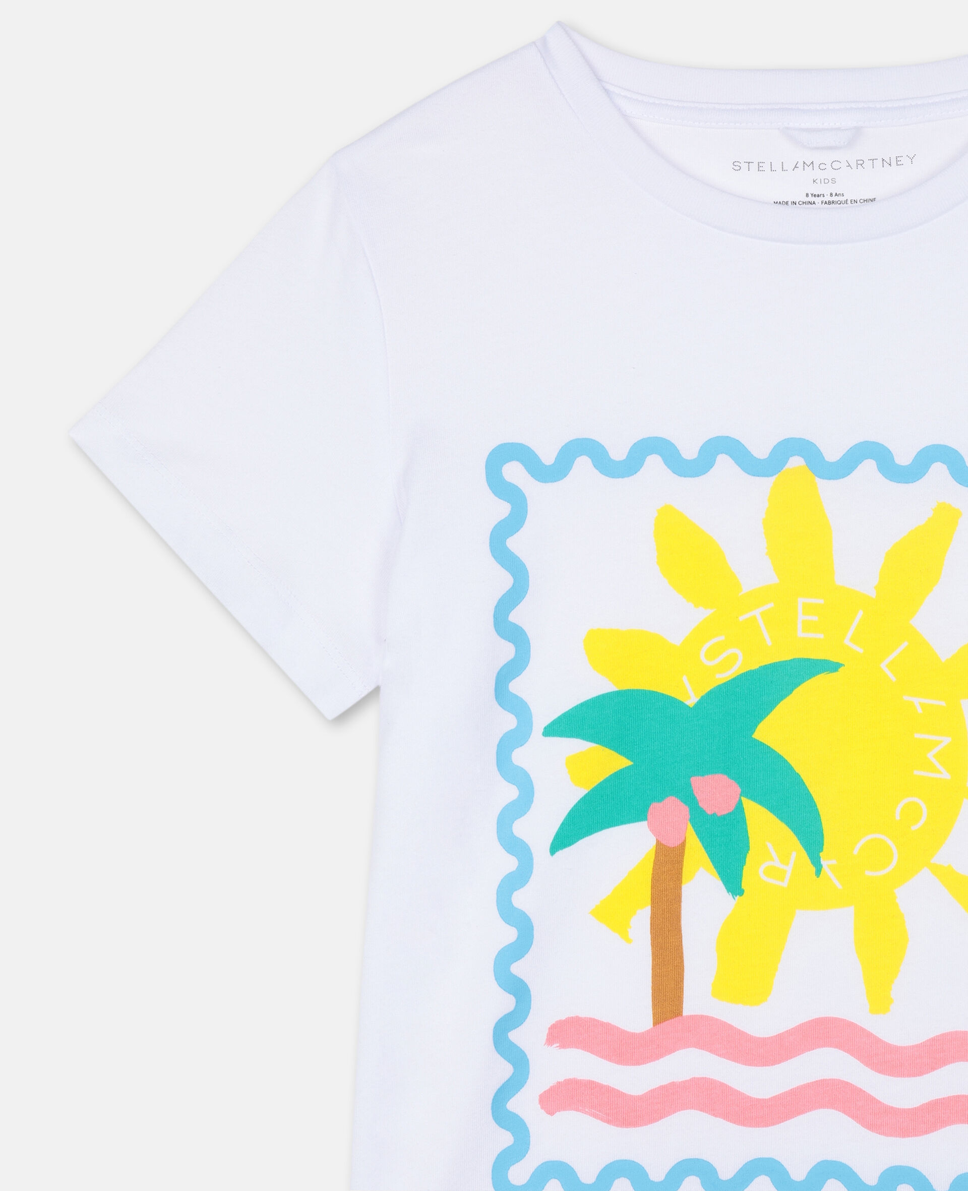 Baumwoll-T-Shirt mit Postkarten-Print-Weiß-large image number 1