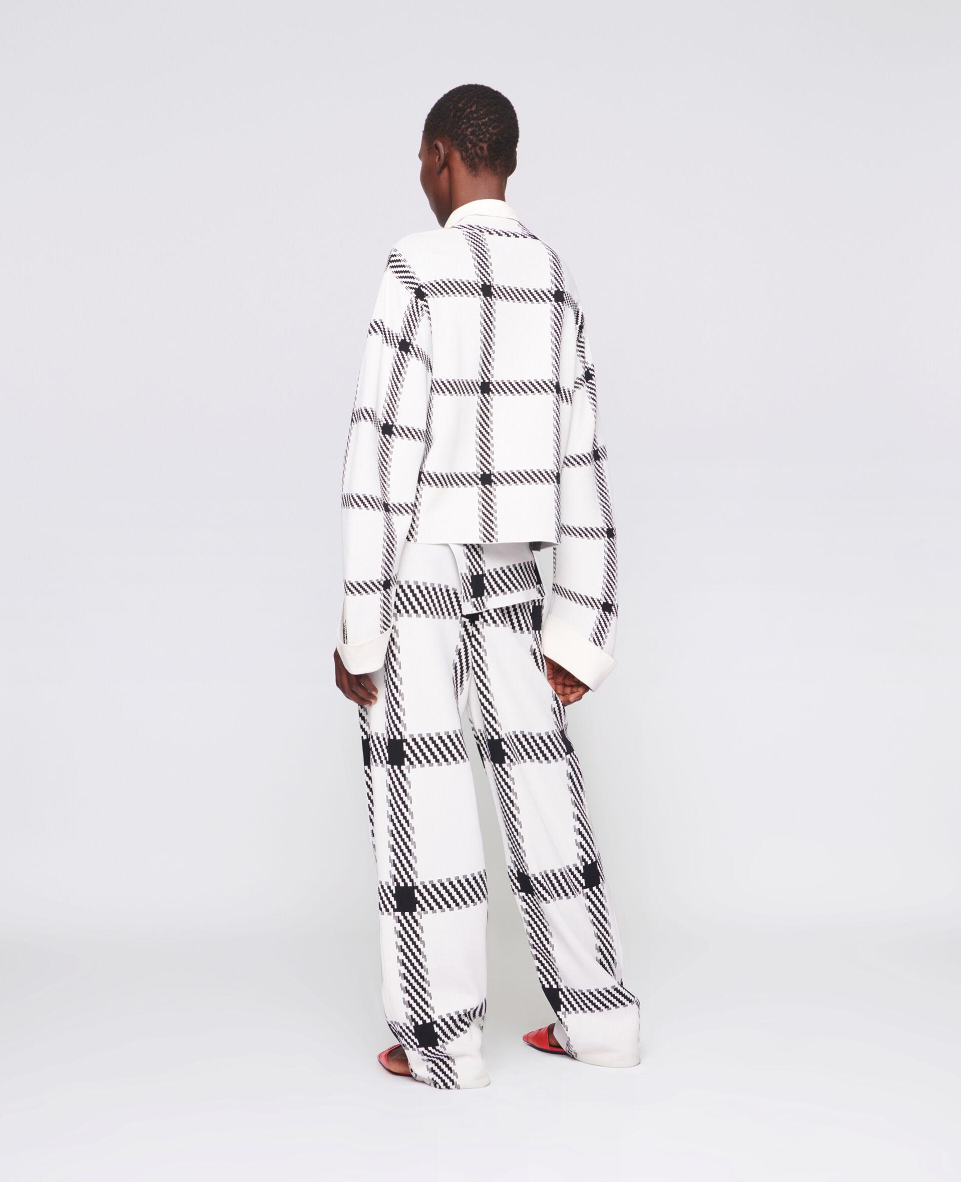 针织格纹裤装-白色-large image number 2