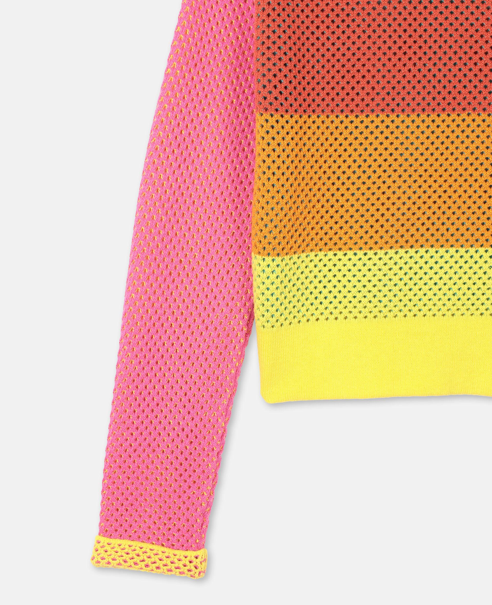 Intarsia Mesh Knit Cotton Jumper -Multicolour-large image number 2