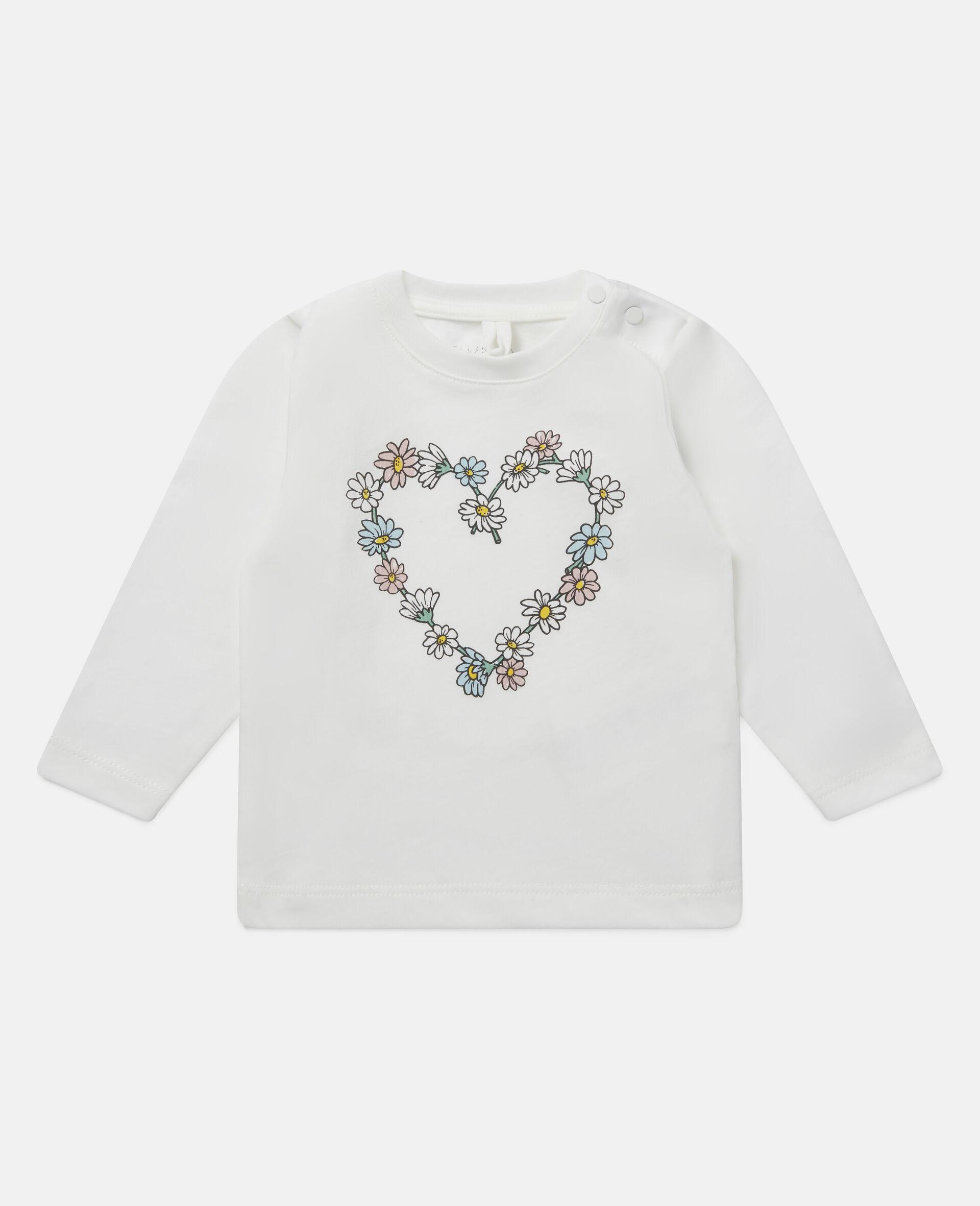 Haut en coton motif cœur en marguerites-Blanc-large image number 0