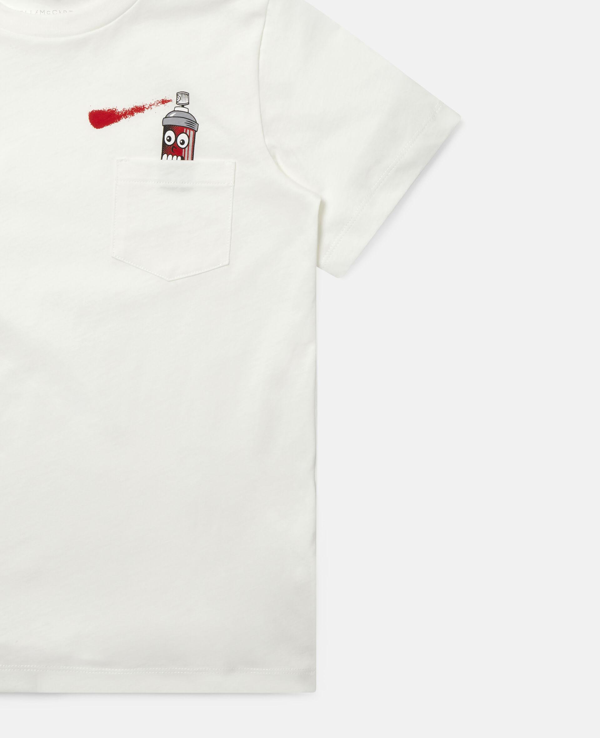 T-shirt en coton imprimé aérosol-Blanc-large image number 1