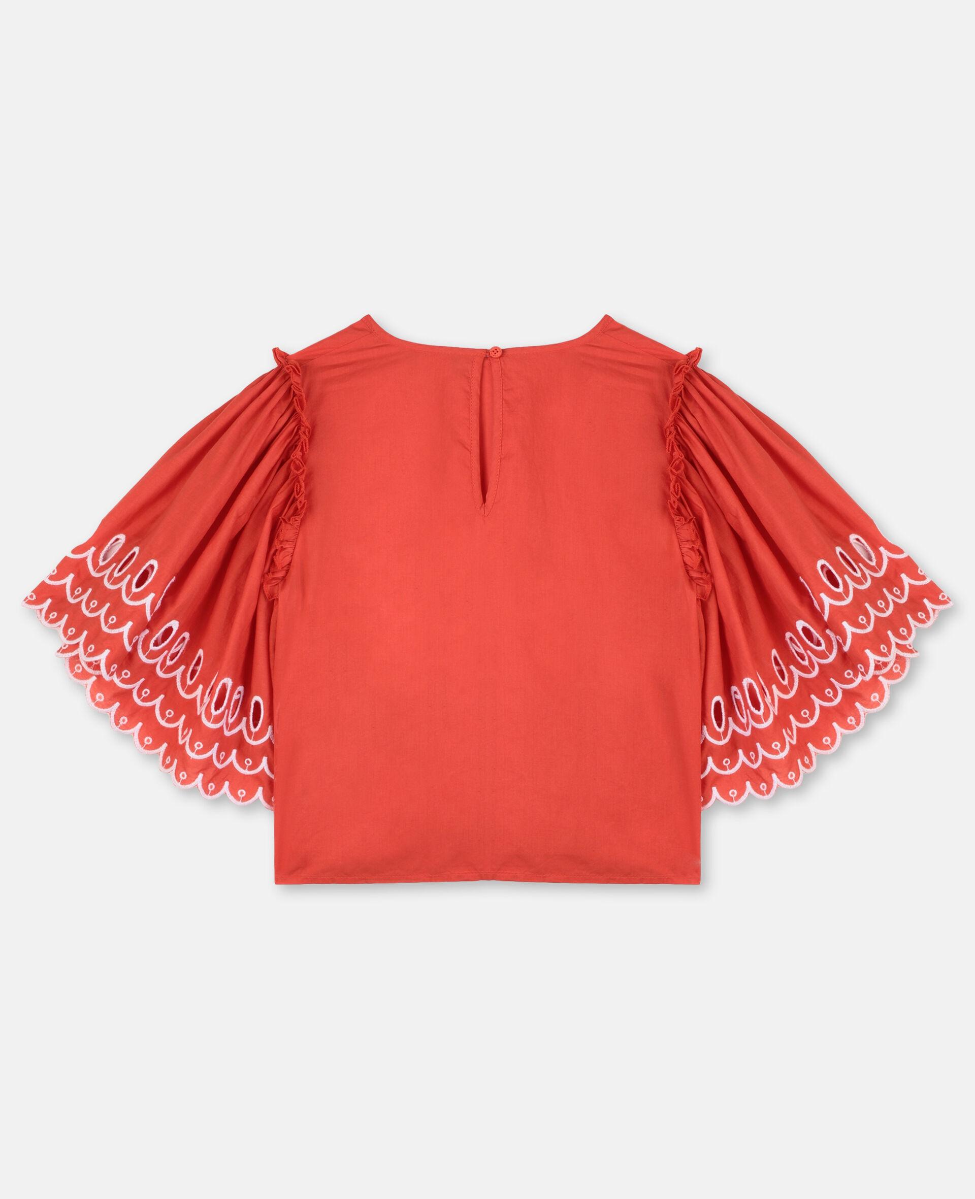 Top en coton festonné-Rouge-large image number 3