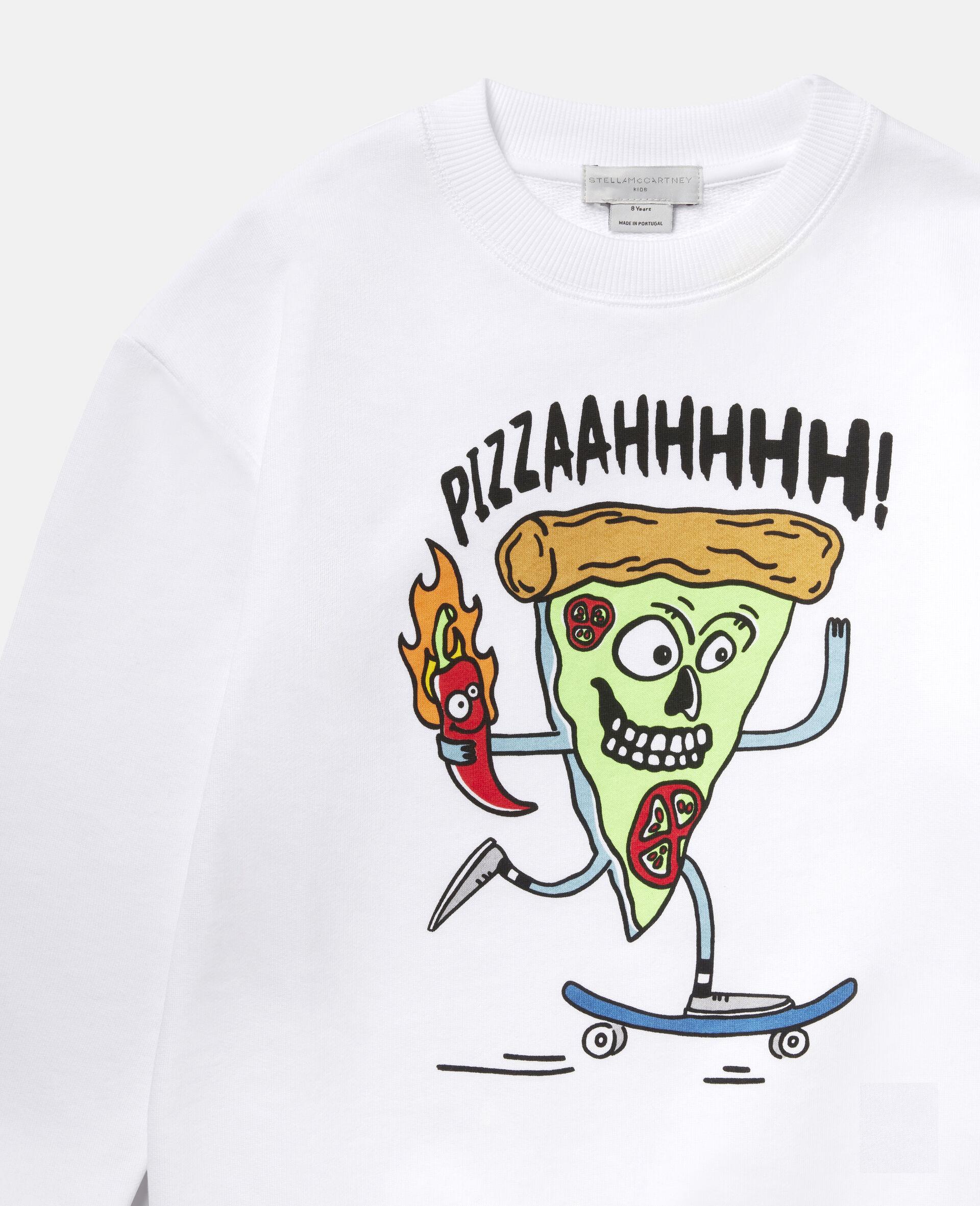 披萨滑板运动员印花抓绒运动衫-白色-large image number 1