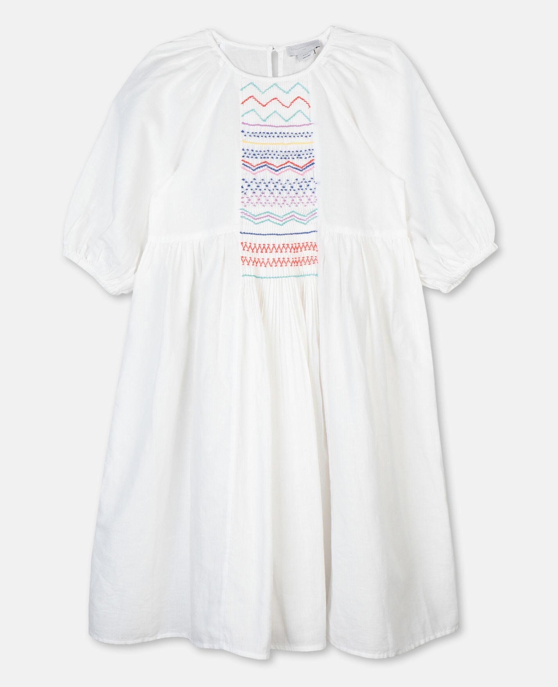 Smock Detail Dress-White-large image number 0