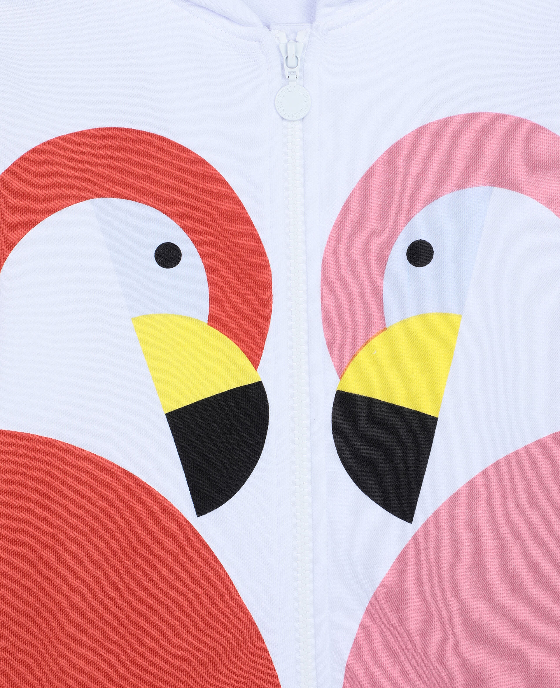 Flamingo Cotton Fleece Zip-Up Hoodie-White-large image number 1