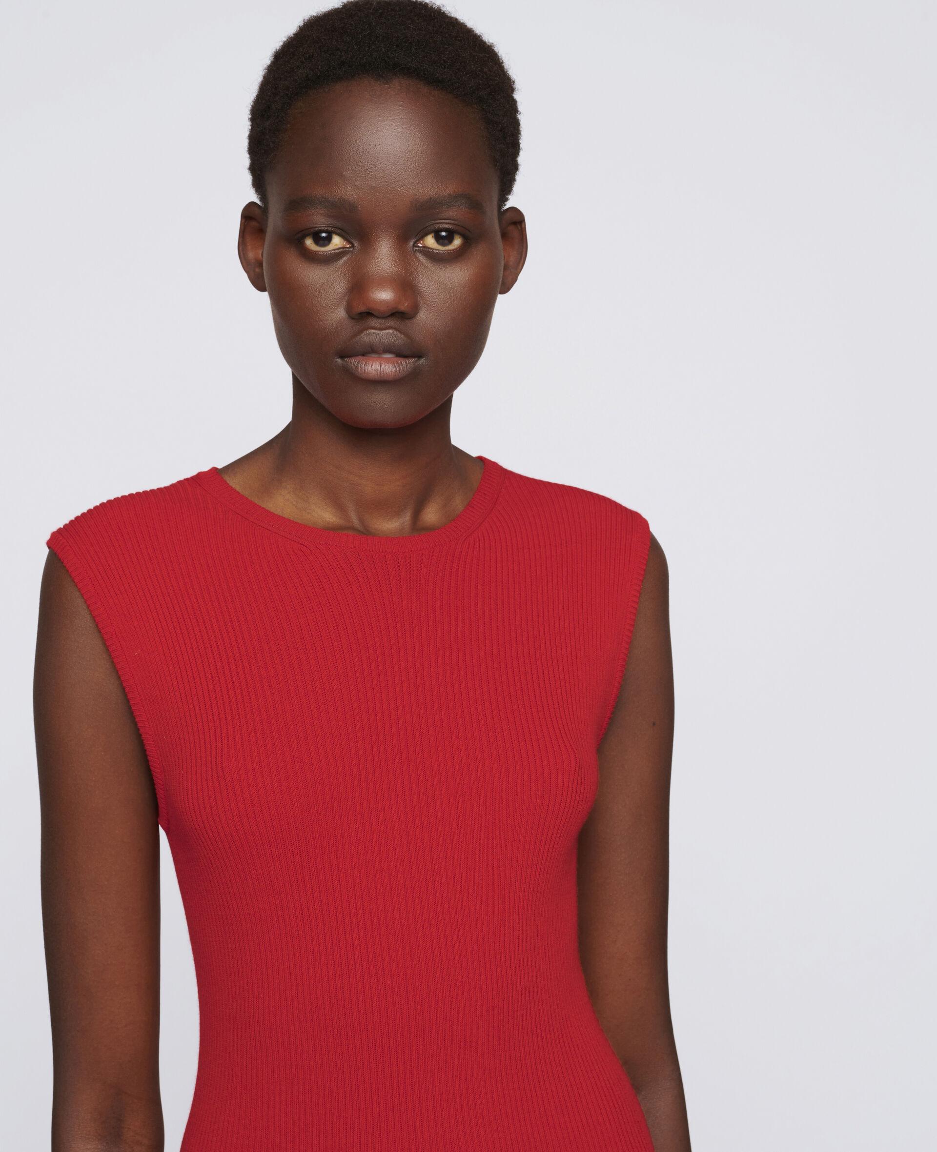 Sleeveless Mini Dress-Red-large image number 3